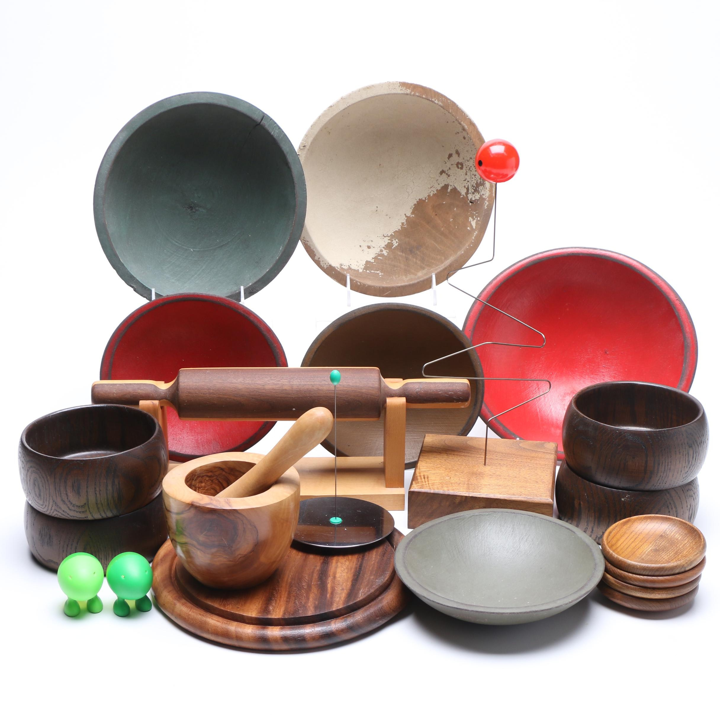 Collection of Wooden Tableware and More