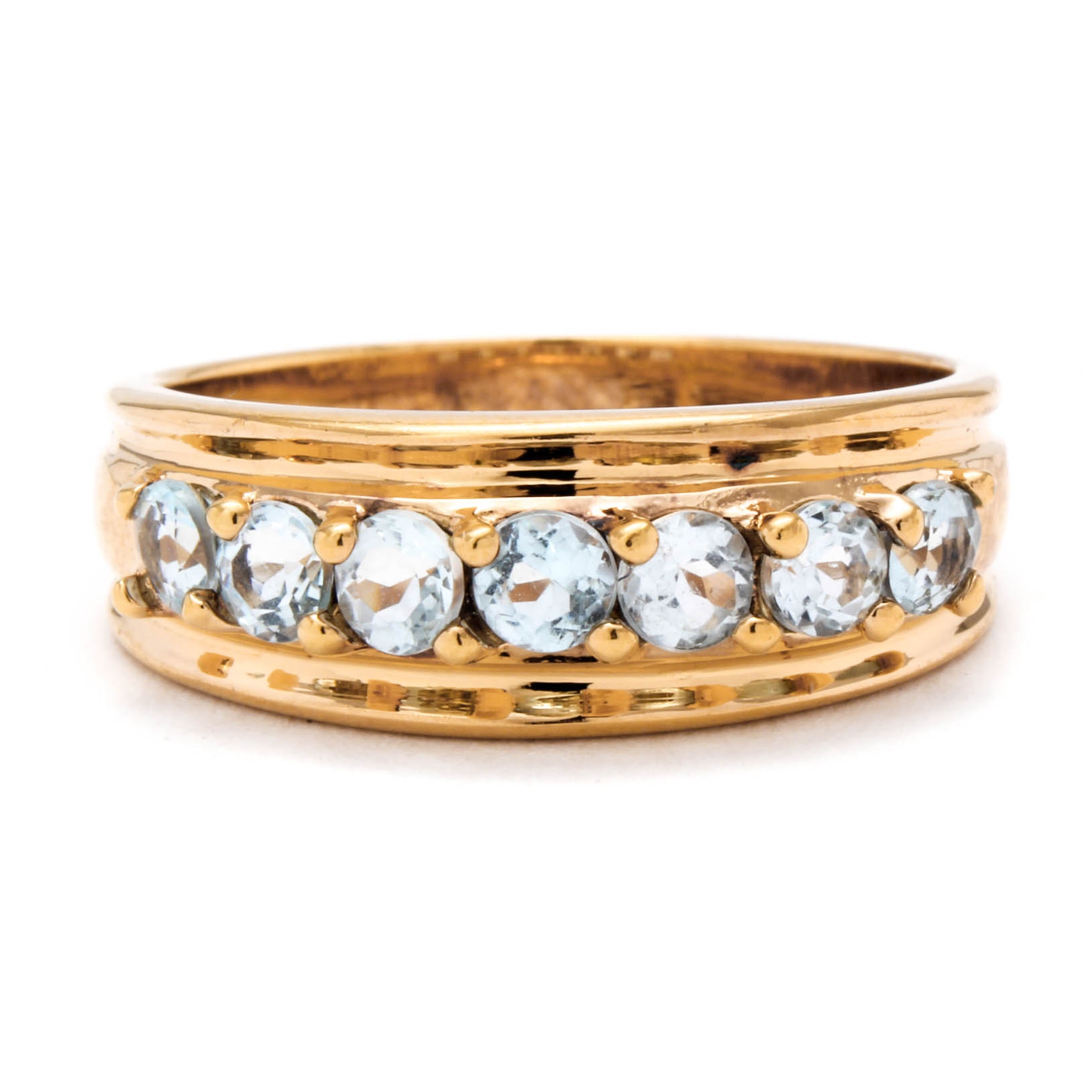 Gold Wash on Sterling Silver Blue Topaz Ring