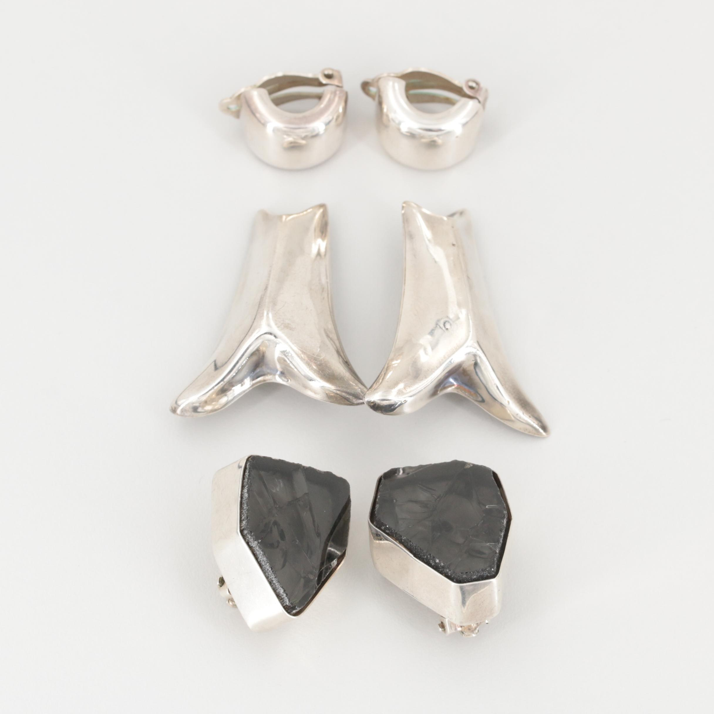 Vintage Mexican Sterling Silver Glass Clip-On Earrings