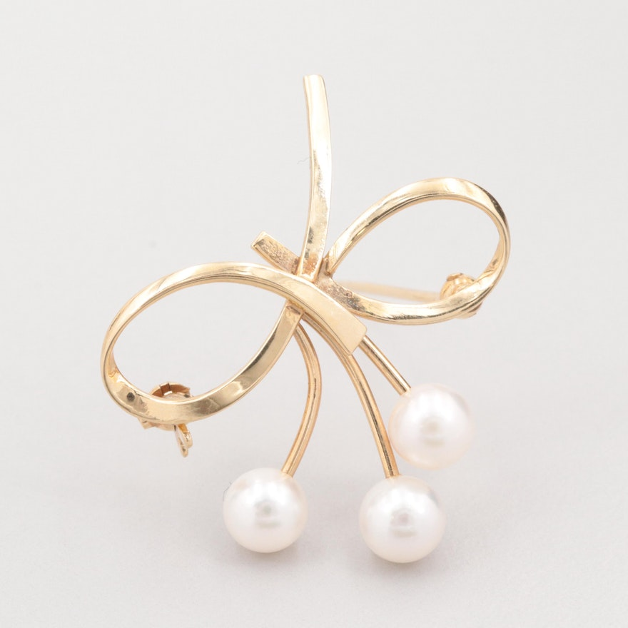 b9d2804594b3a Vintage Mikimoto 14K Yellow Gold Cultured Pearl Brooch