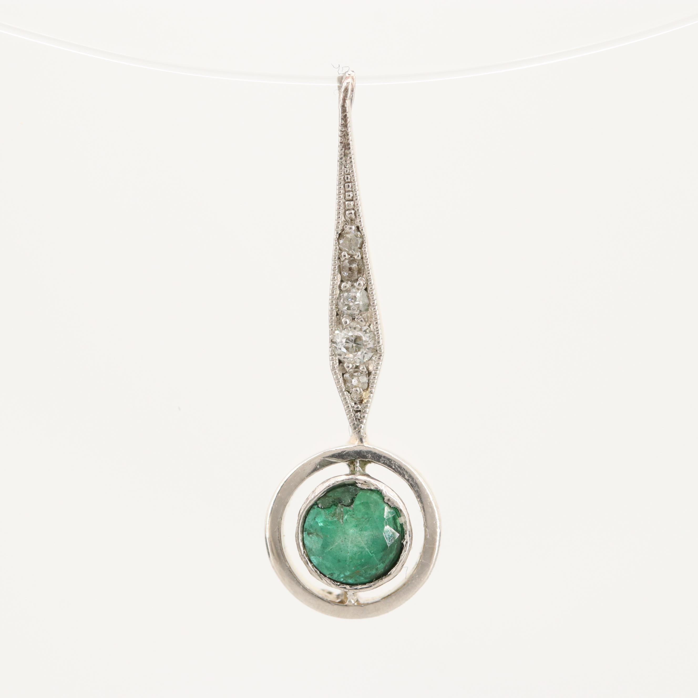 Art Deco 14K Yellow Gold and Platinum Emerald and Diamond Pendant