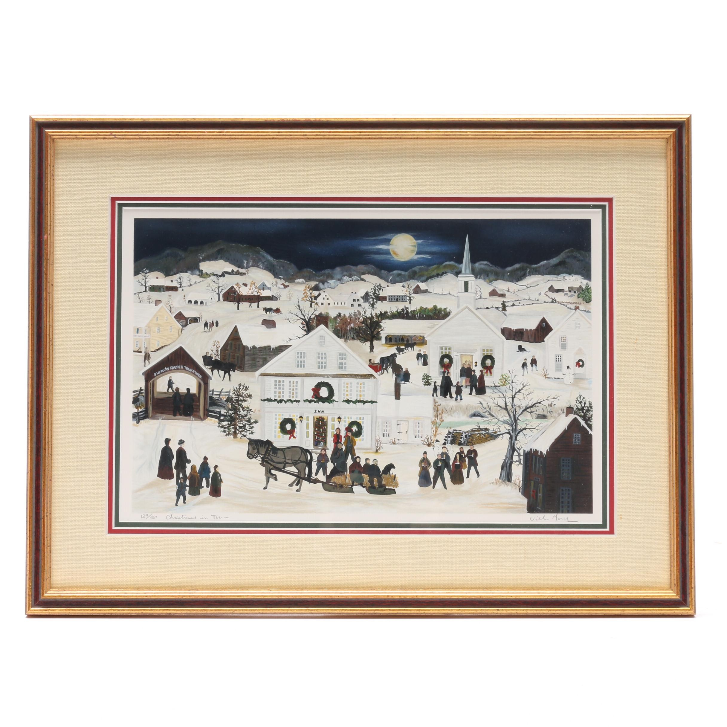 """Will Moses Limited Edition Serigraph """"Christmas in Town"""""""