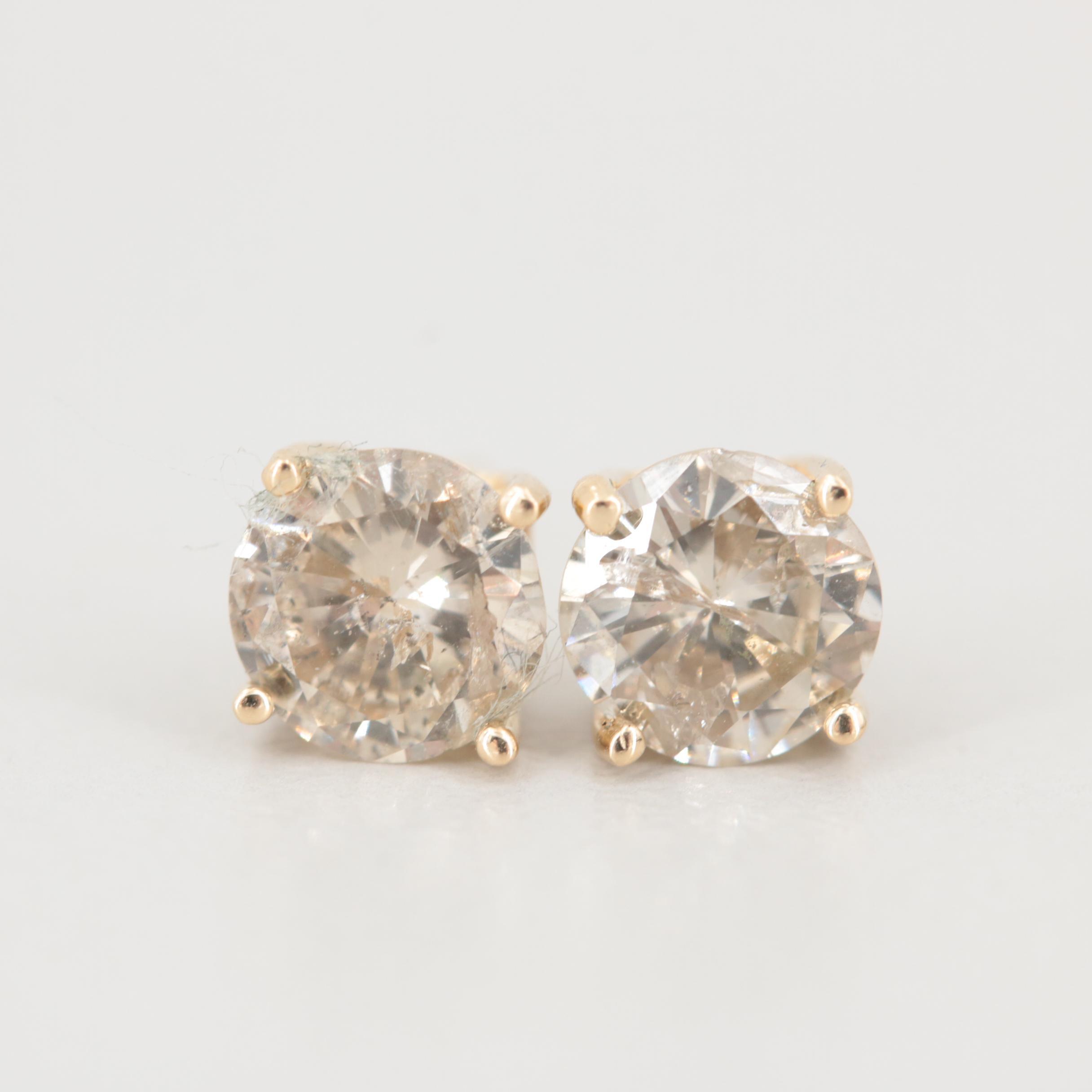 14K Yellow Gold 1.24 CTW Diamond Stud Earrings