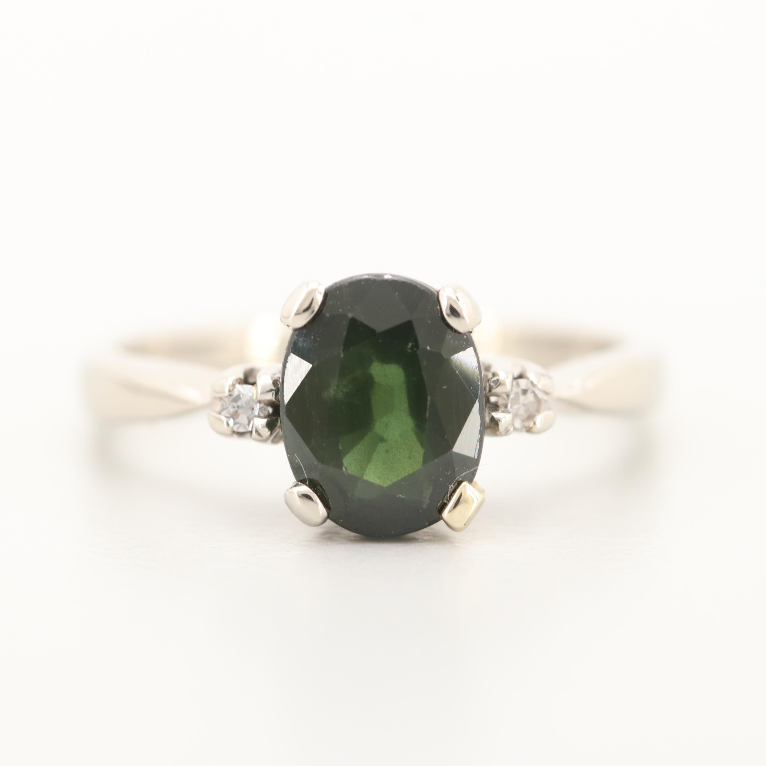 14K White Gold 1.20 CT Sapphire and Diamond Ring