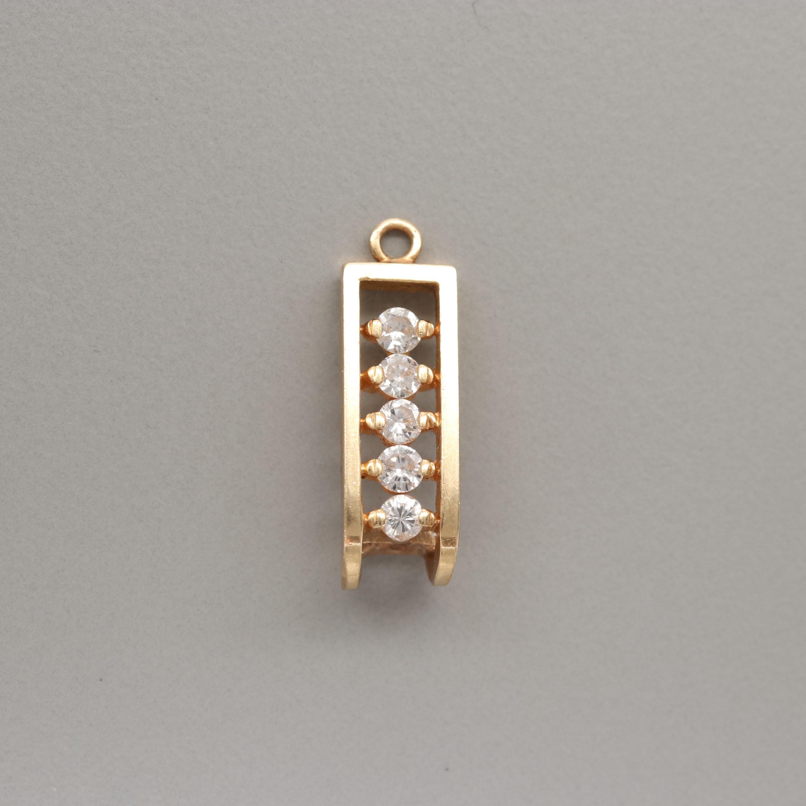 14K Yellow Gold Diamond Earring Jacket