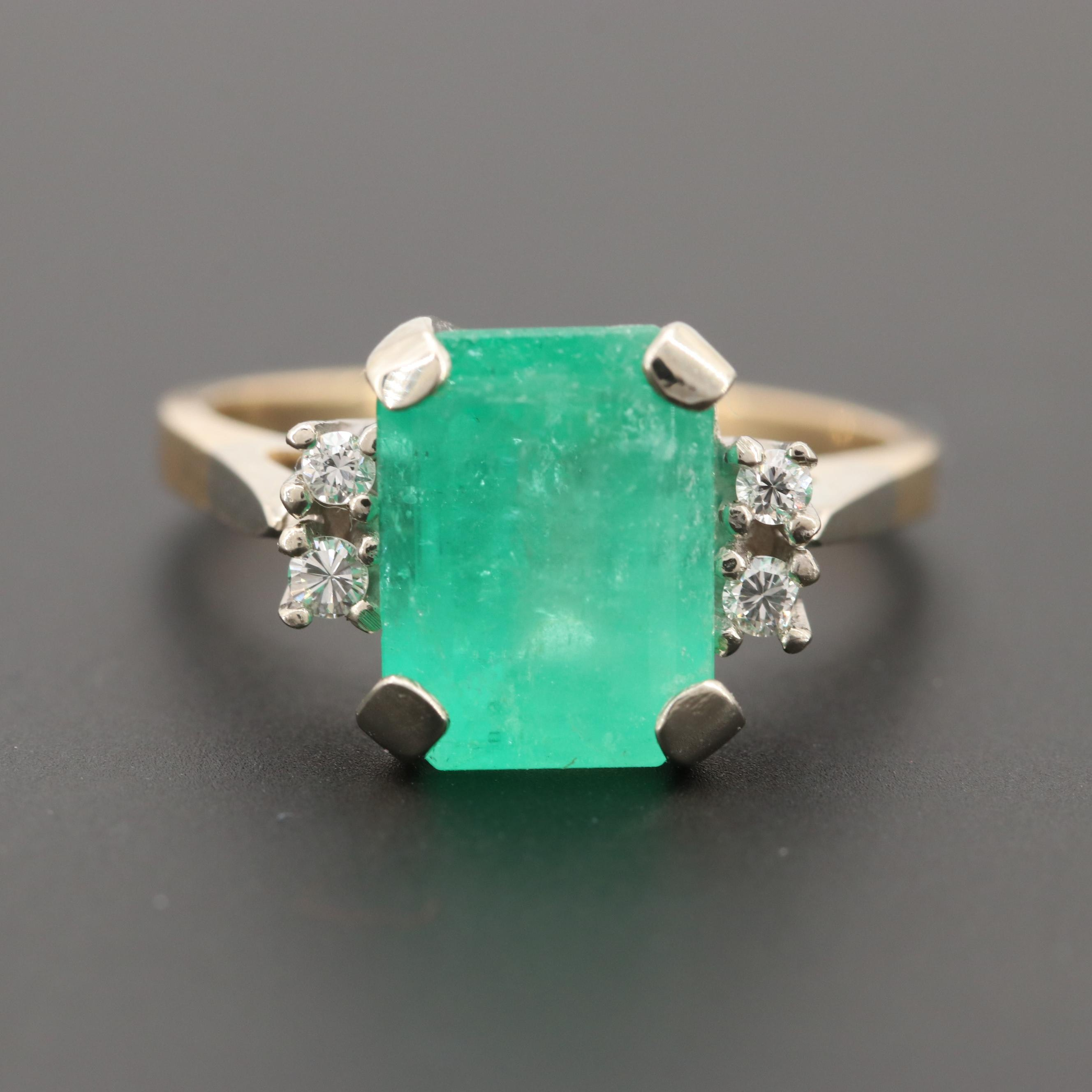 14K Yellow and White Gold 3.41 CT Emerald and Diamond Ring
