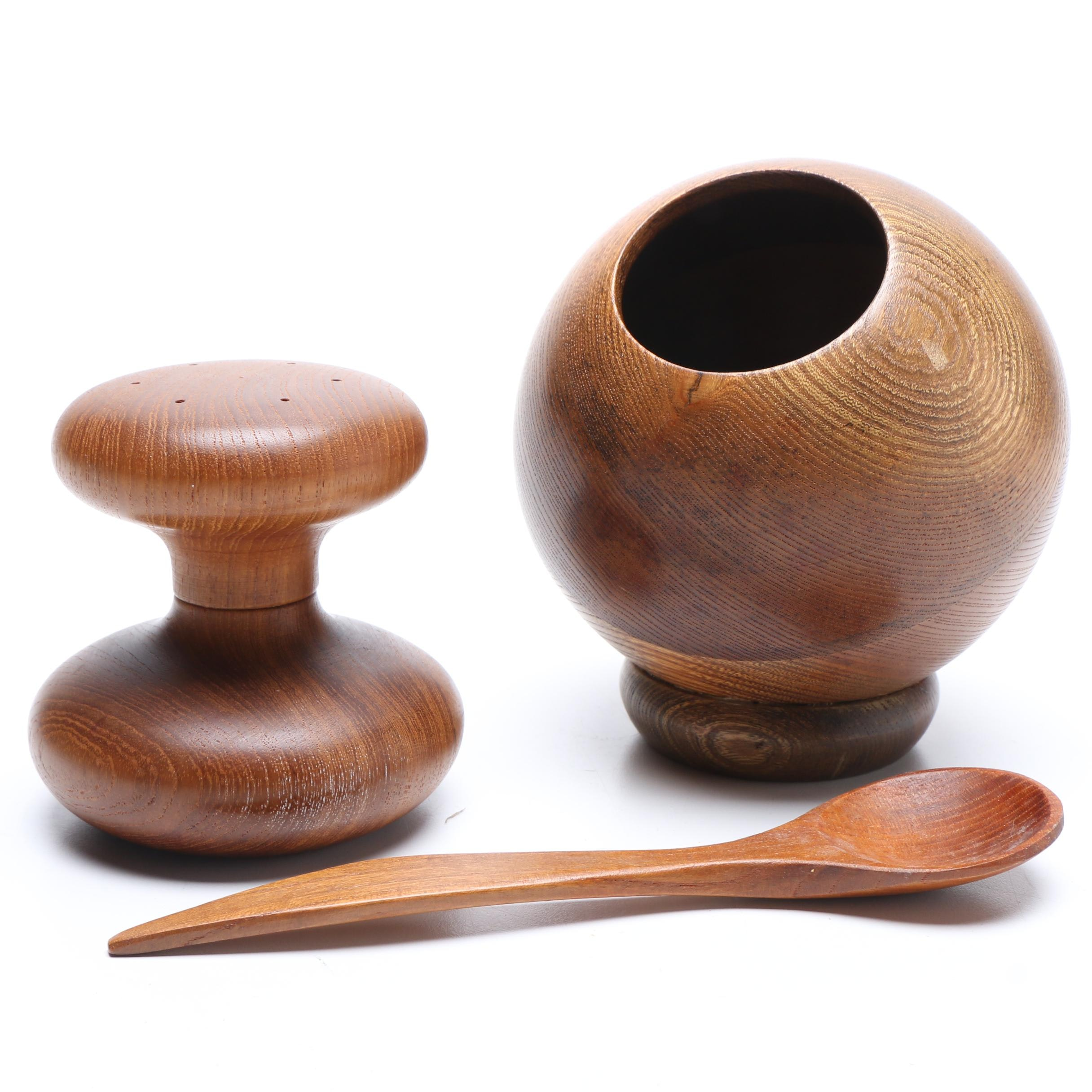 Teak Salt Cellar with Spoon and Dansk Designs Teak Pepper Grinder