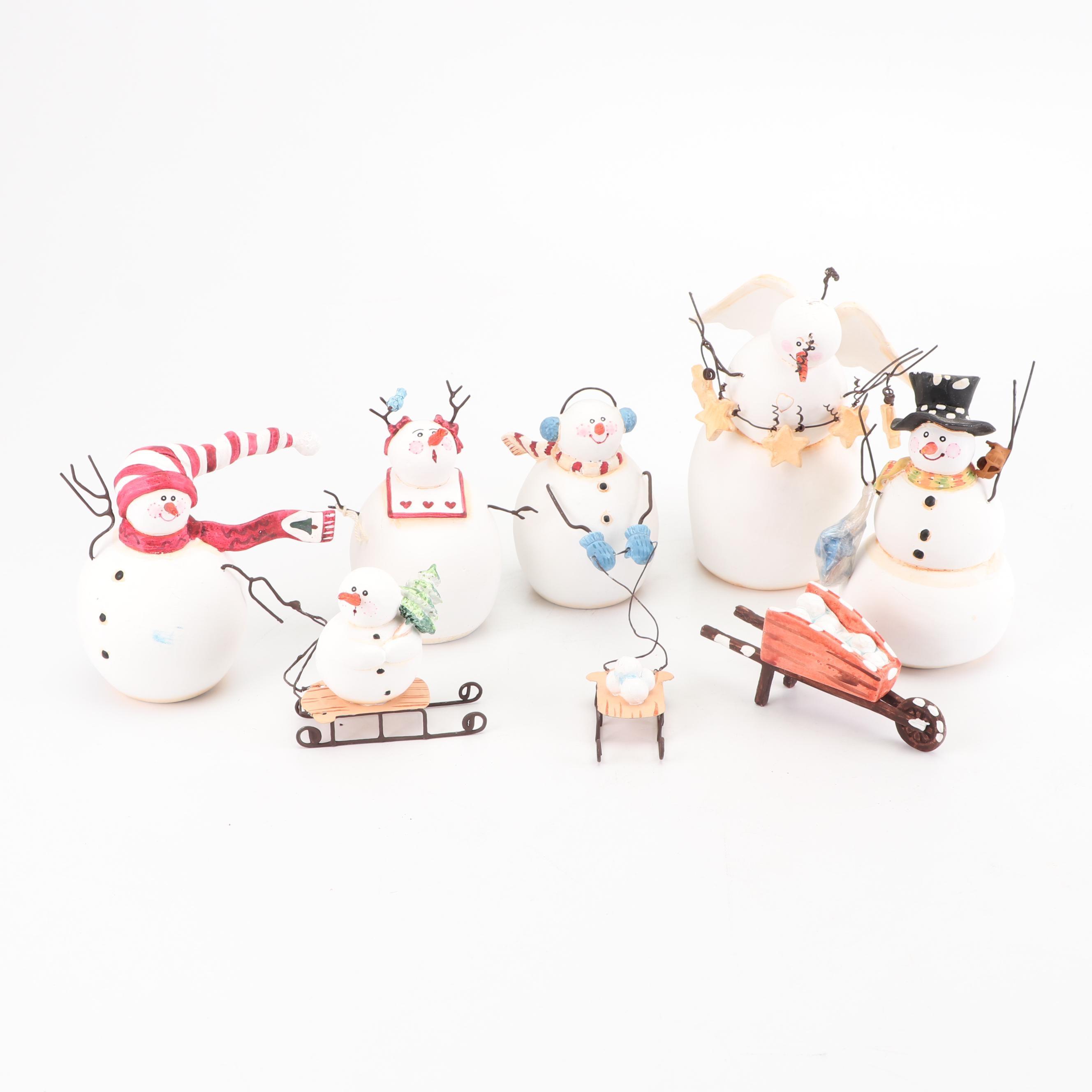 Sandi Gore Evans Signed Snowmen Figurines