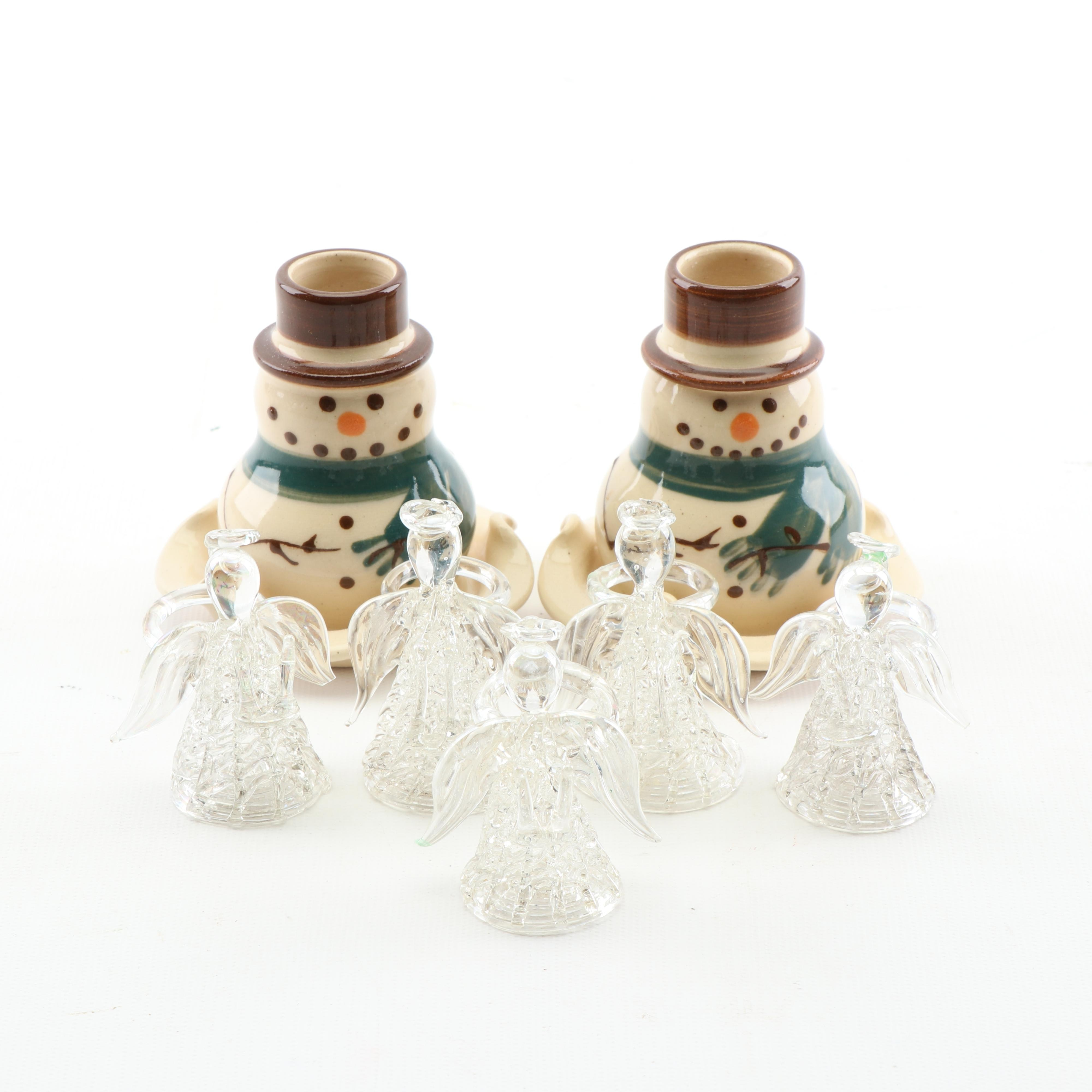 Kovack Pottery Snowman Candle Holders and Glass Angel Taper Holders