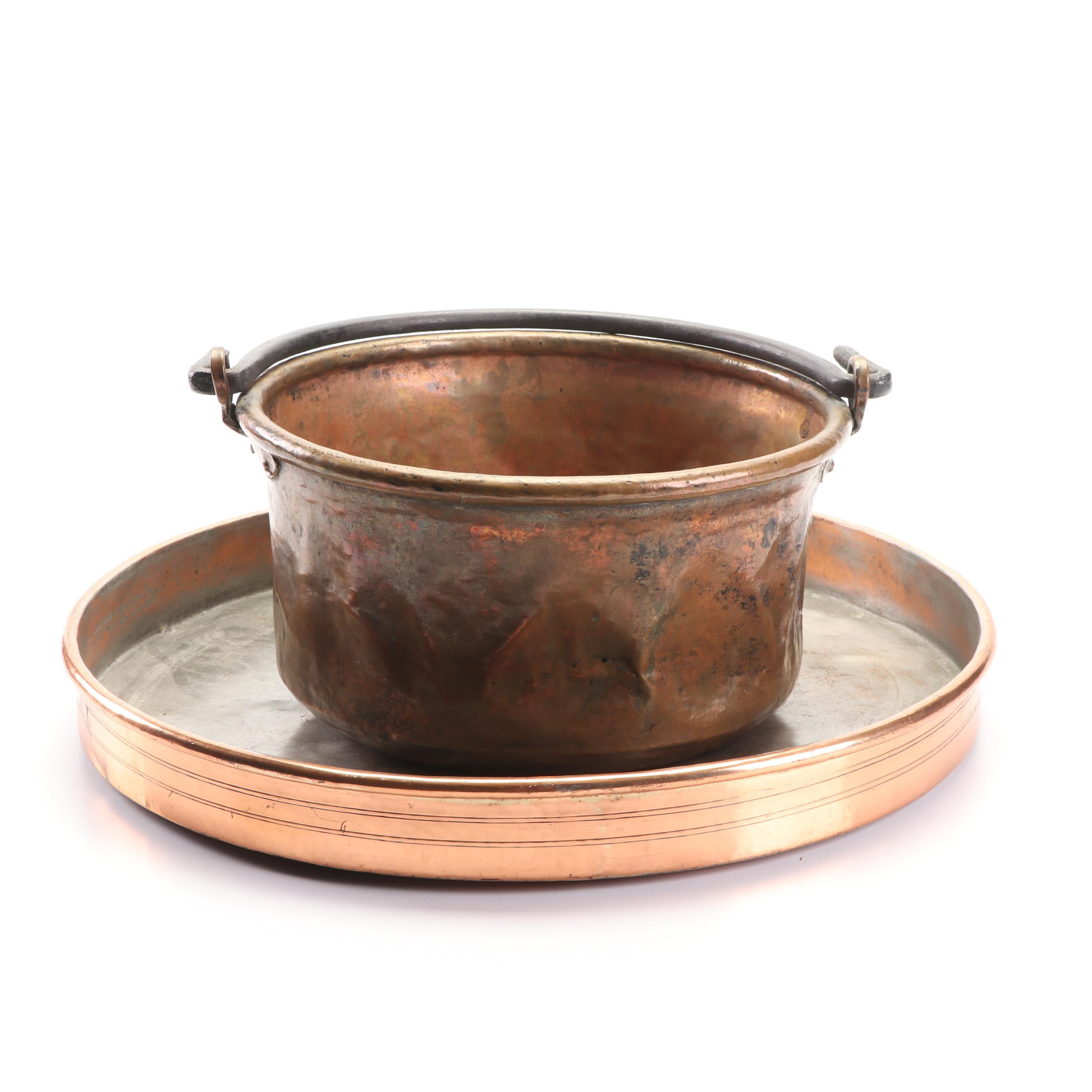 Antique Copper Serving Tray and Cauldron