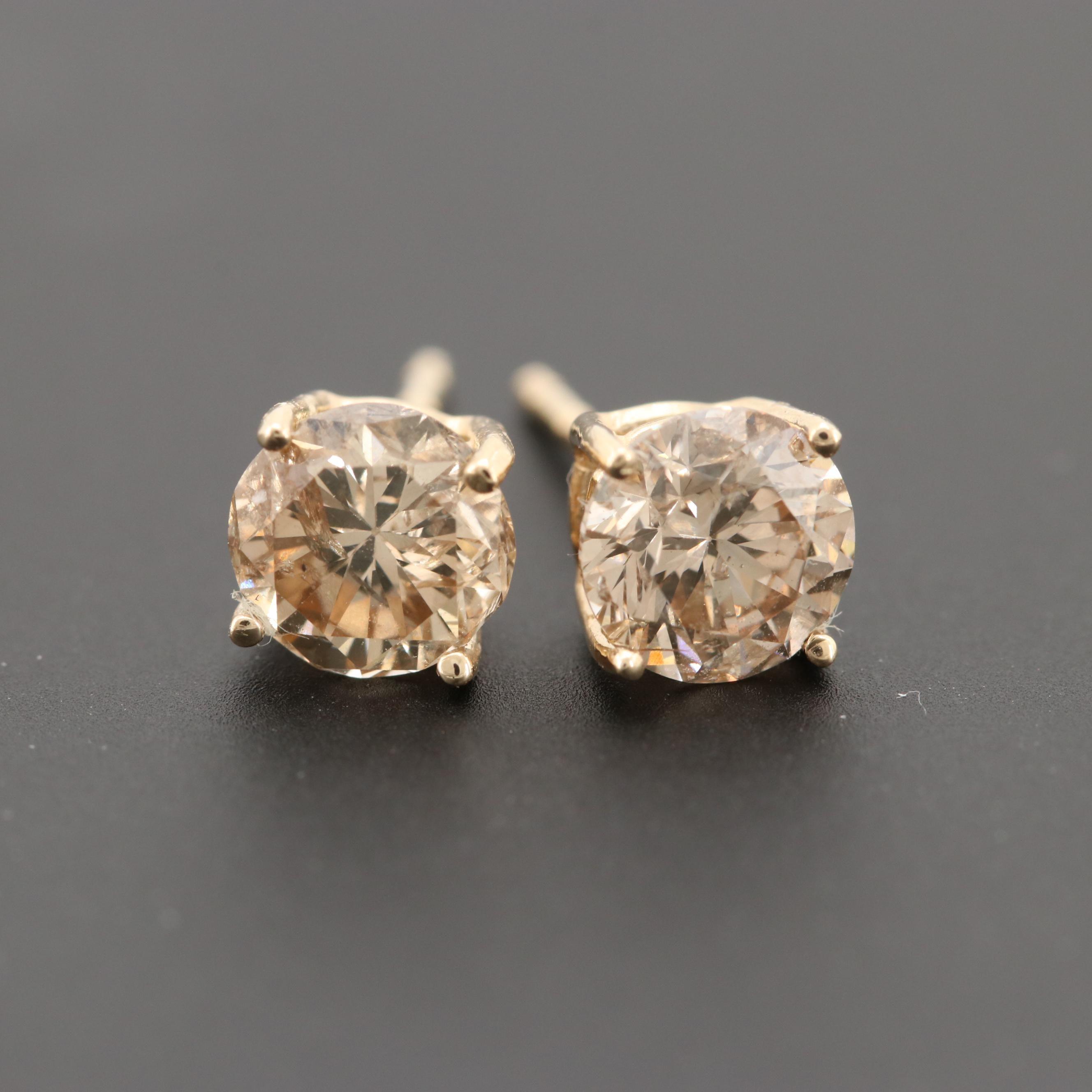 14K Yellow Gold 1.13 CTW Diamond Earrings