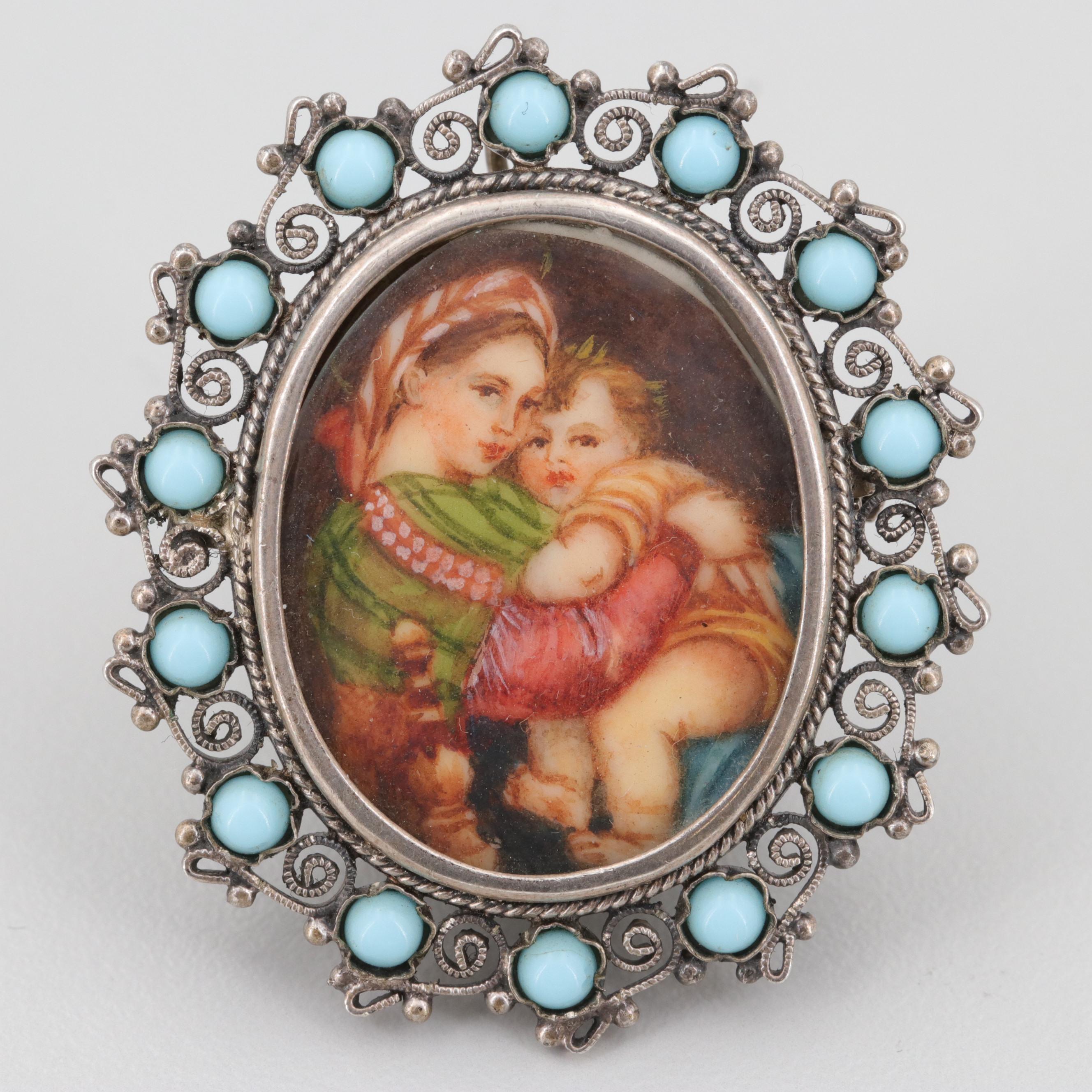 Vintage 800 Silver Turquoise Miniature Portrait Converter Brooch