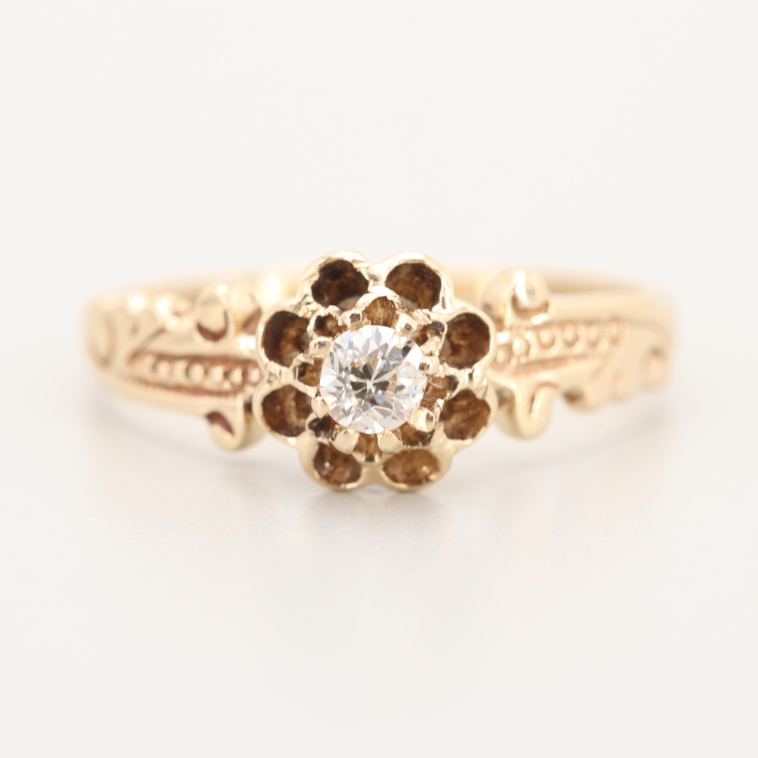 Antique 10K Yellow Gold Diamond Ring