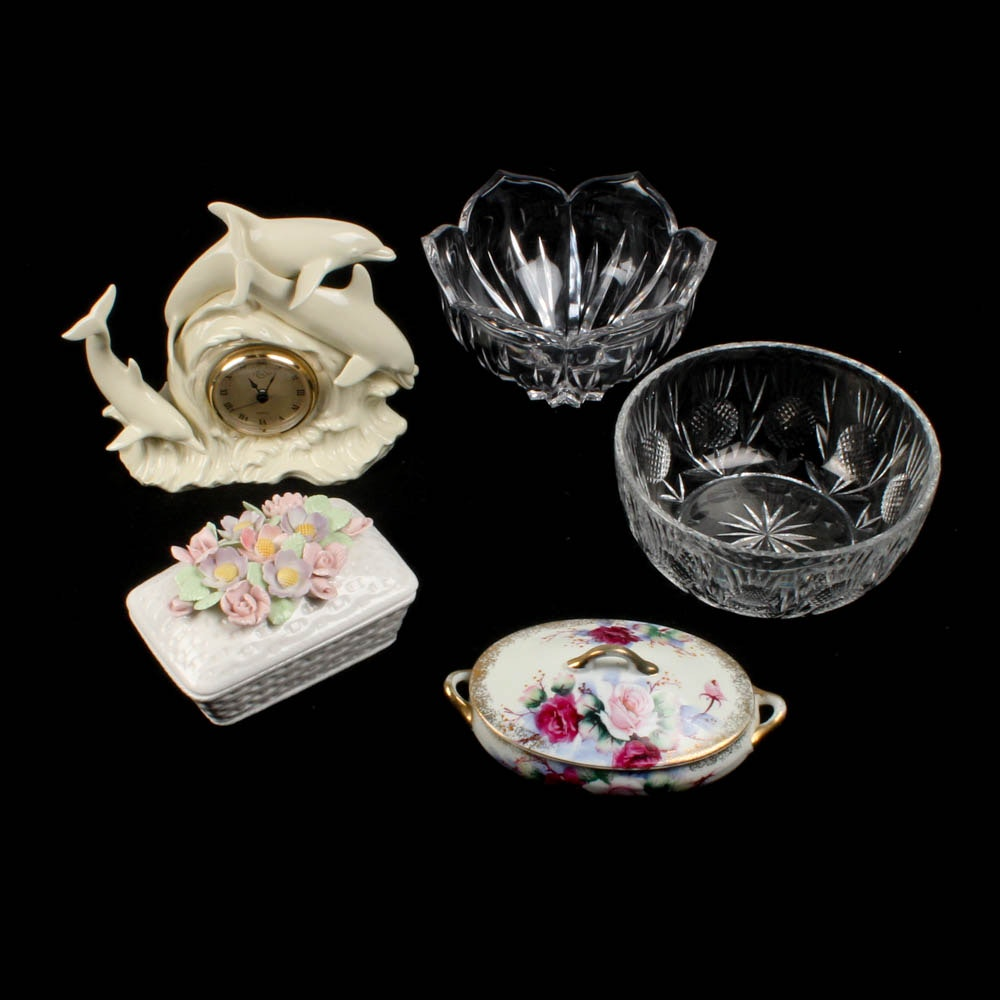 "Crystal Bowls, Porcelain Lidded Boxes and Lenox ""Dolphin"" Clock"