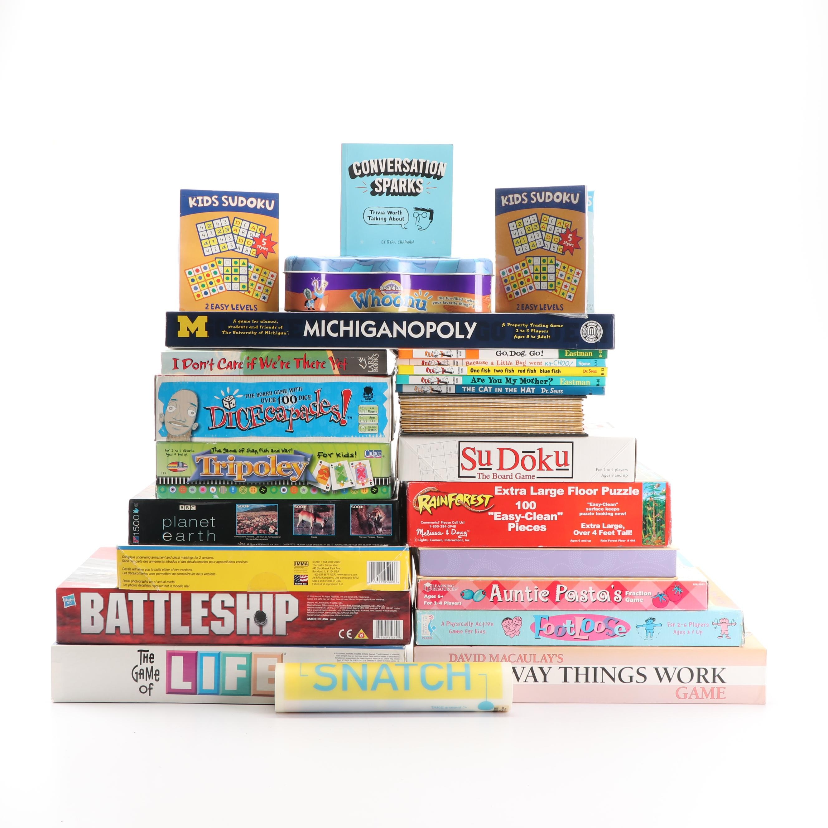 Board Games and Puzzles including Battleship and Dr. Seuss Books