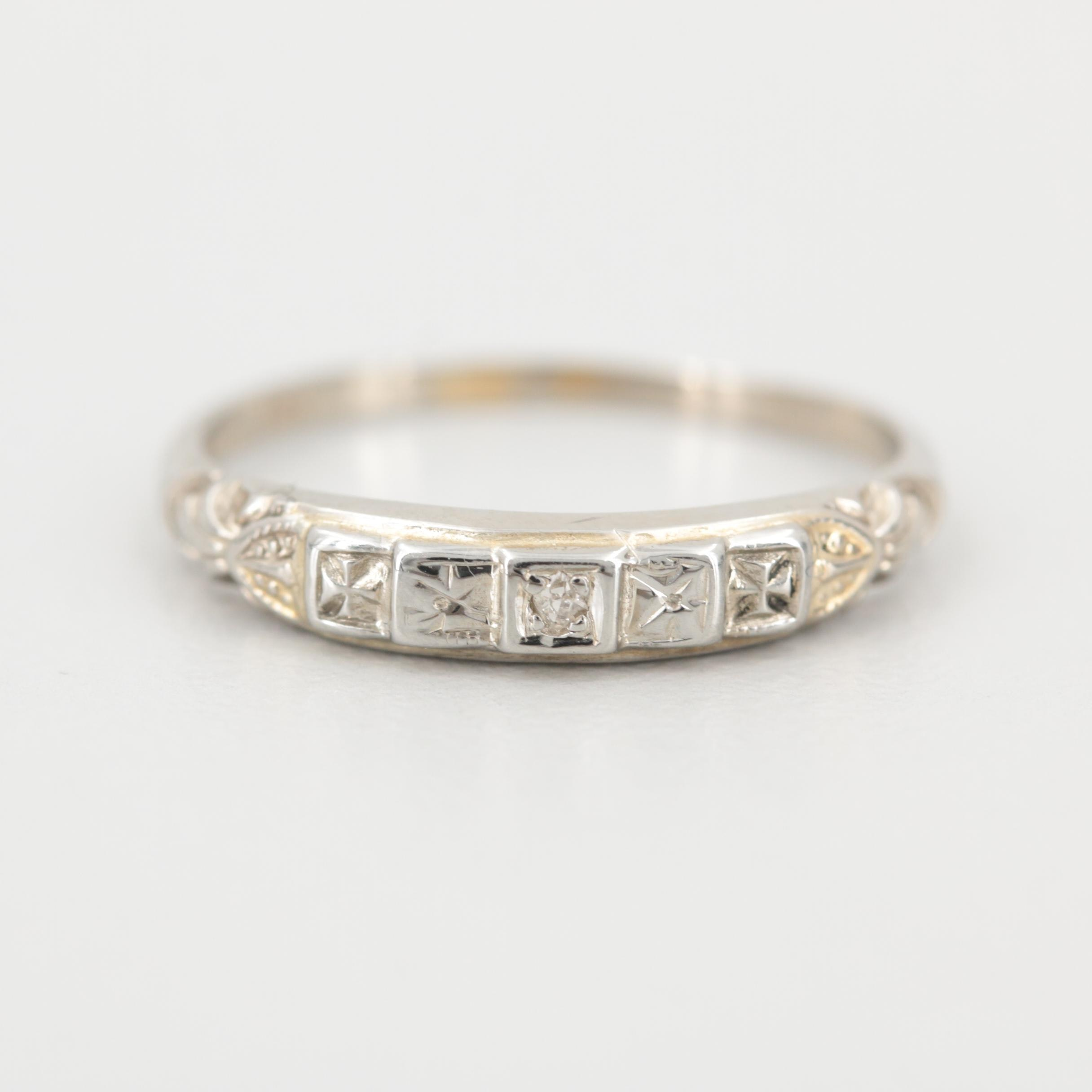 Art Deco 14K and 18K White Gold Diamond Ring