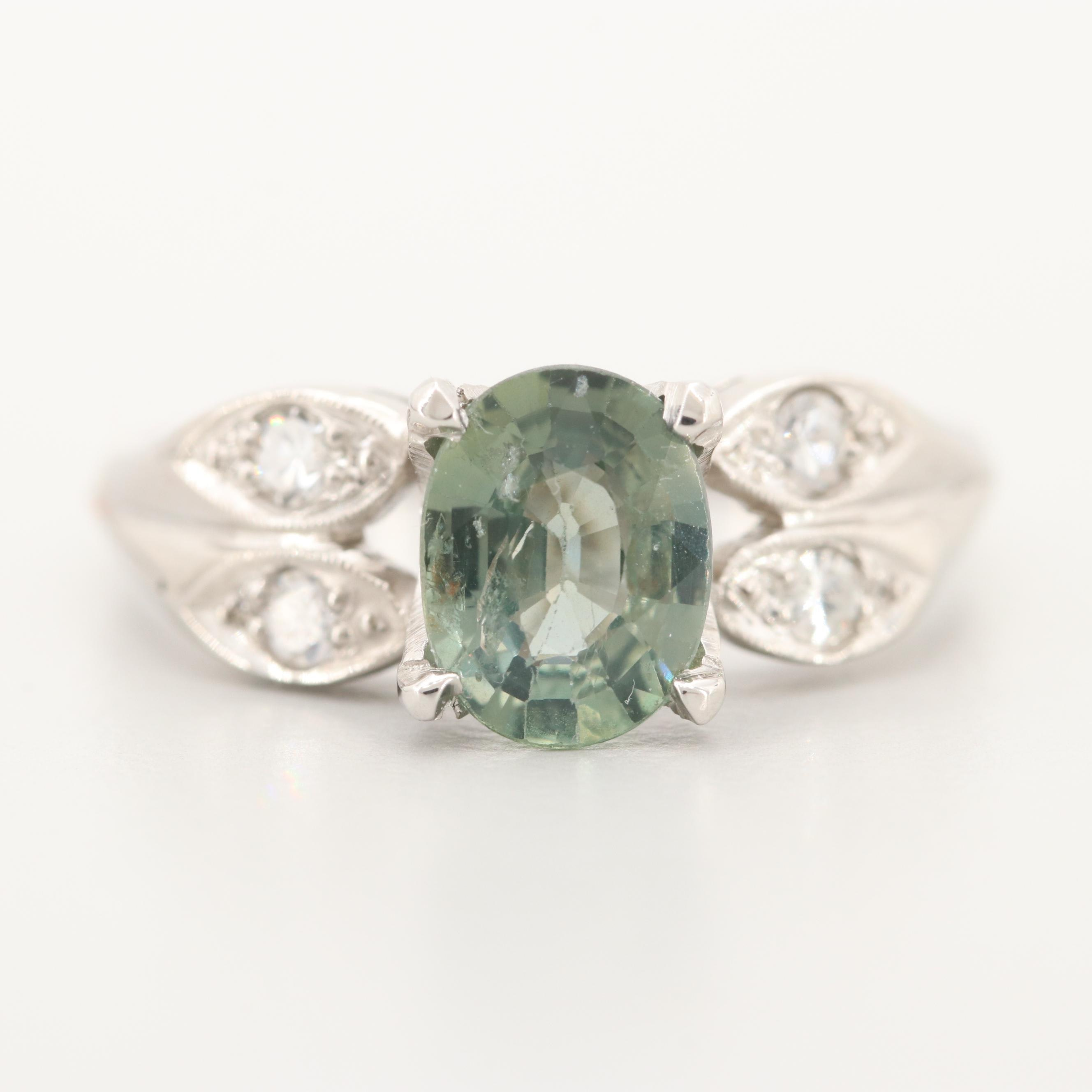 Platinum 1.55 CT Color Change Sapphire and Diamond Ring