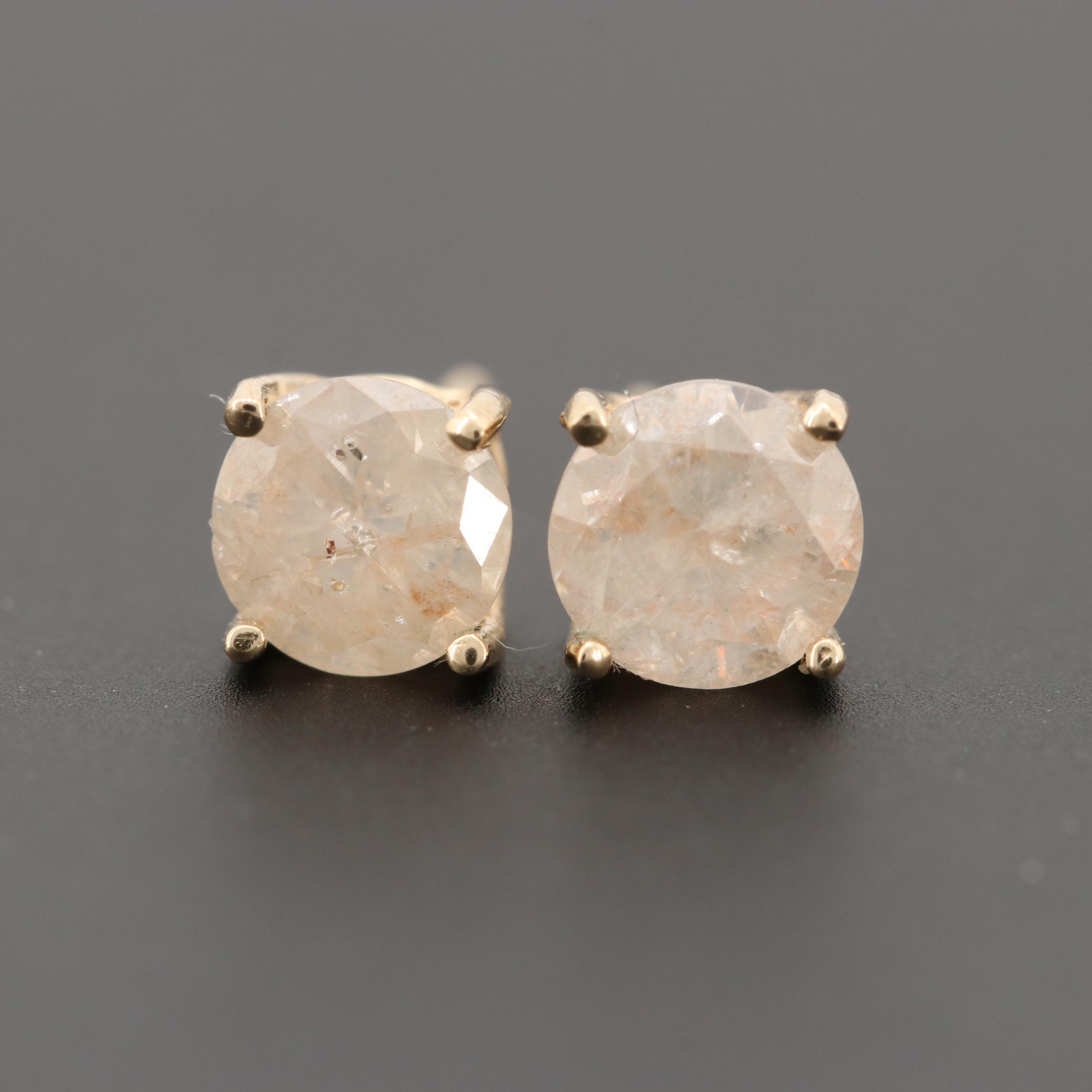 14K Yellow Gold 0.96 CTW Diamond Earrings