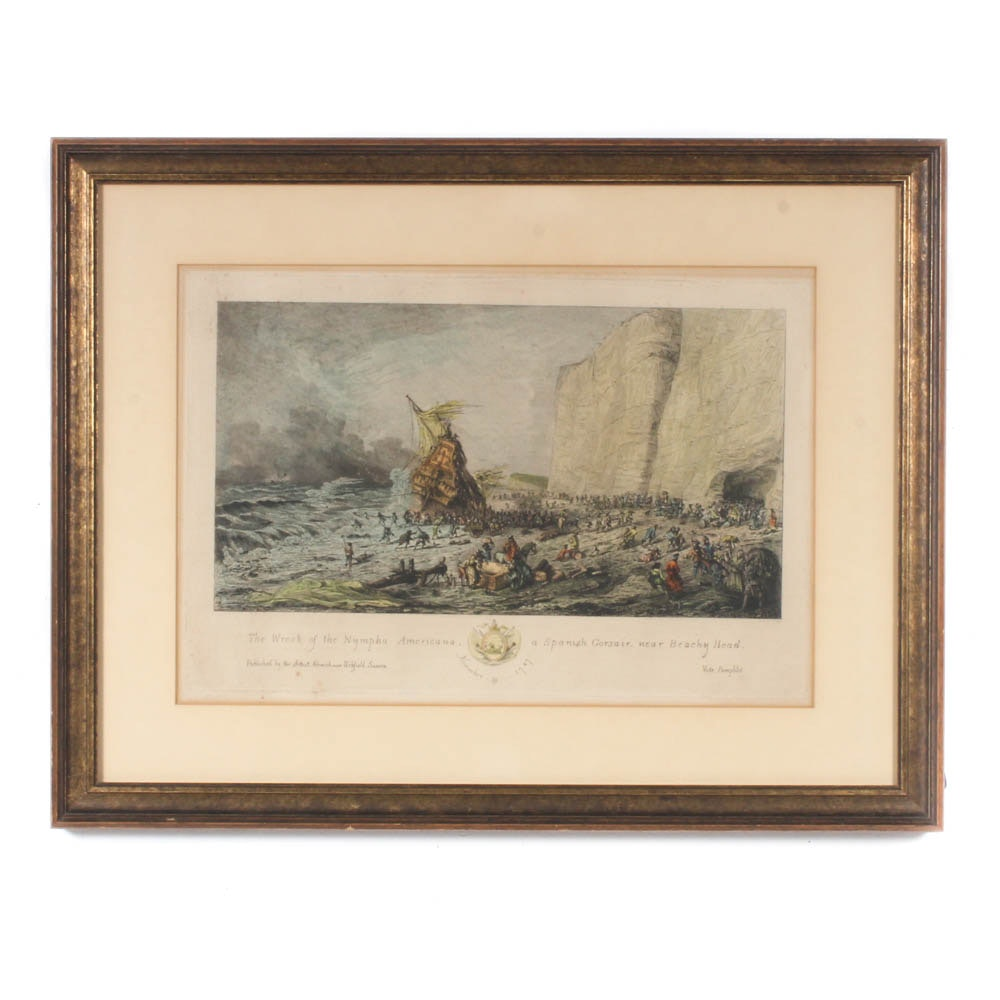 """J.H. Hurdis Hand-Colored Engraving """"The Wreck of the Nympha Americana"""""""
