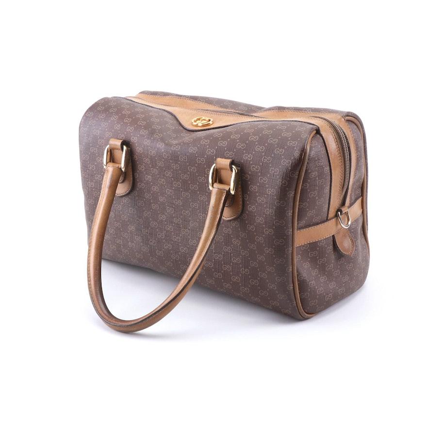 c5b2eb1ddb5 Vintage Gucci GG Brown Coated Canvas and Tan Leather Boston Handbag ...