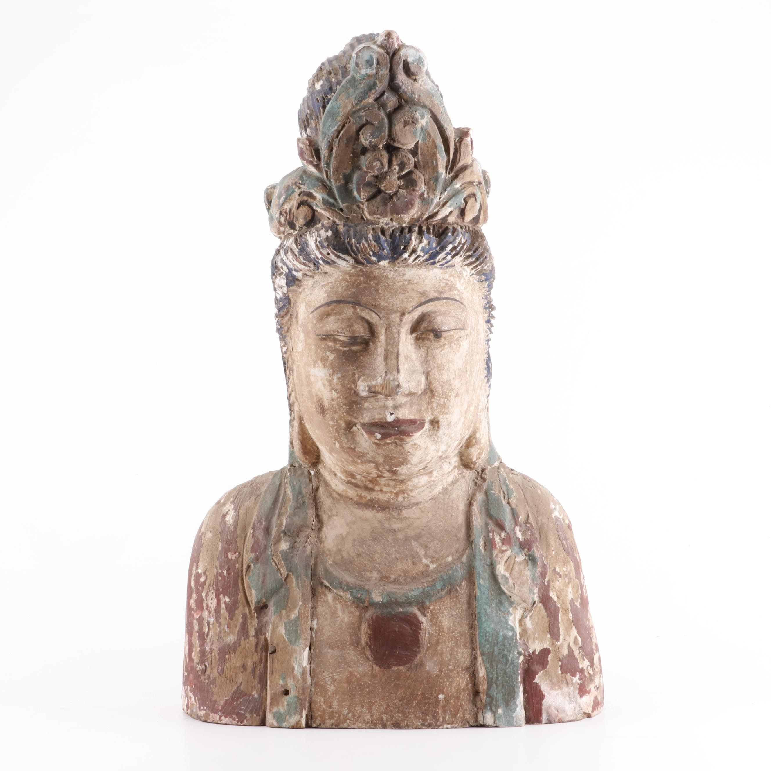 Chinese Polychrome Guanyin Bust