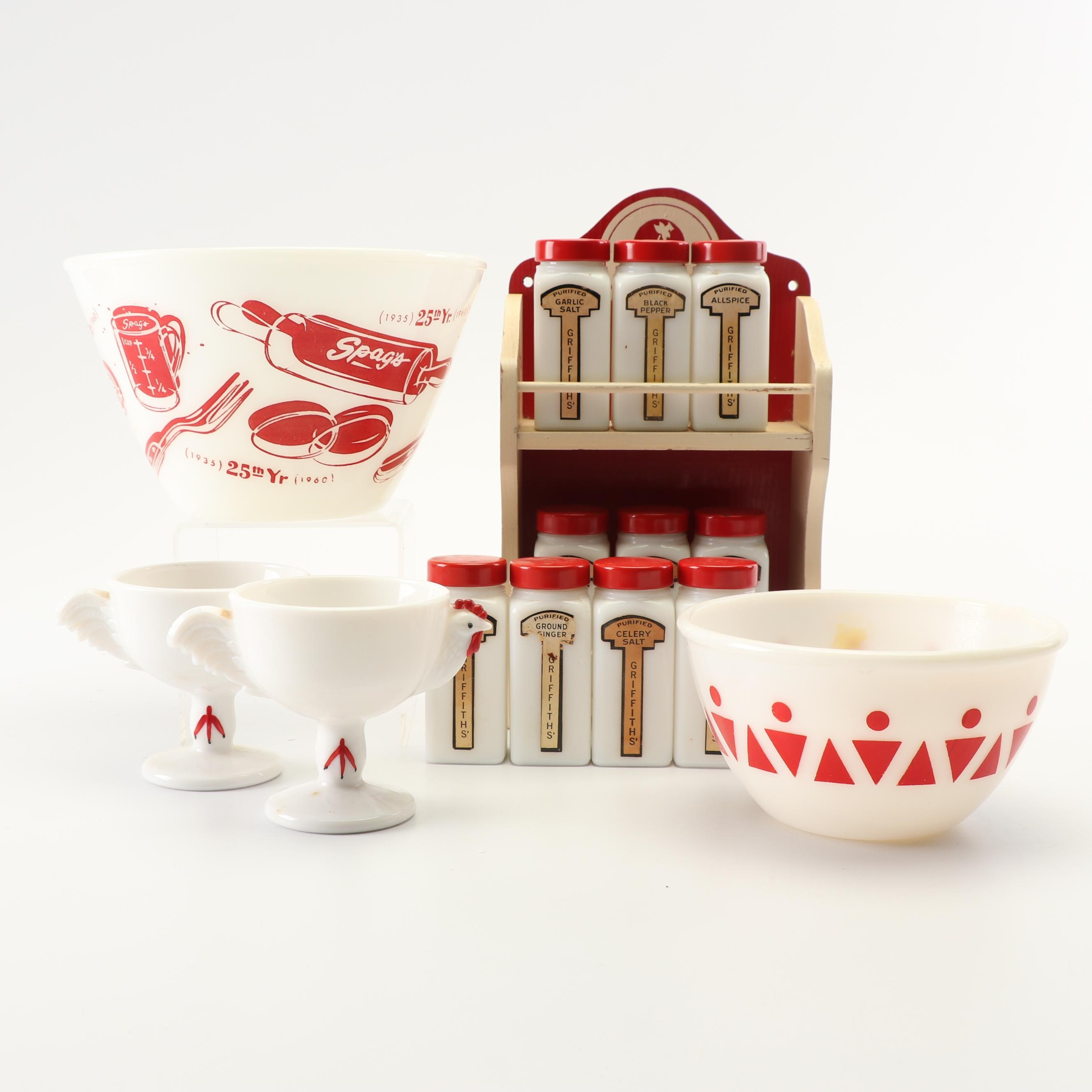 Vintage Milk Glass Custard Cups, Mixing Bowls and Spice Jars with Rack