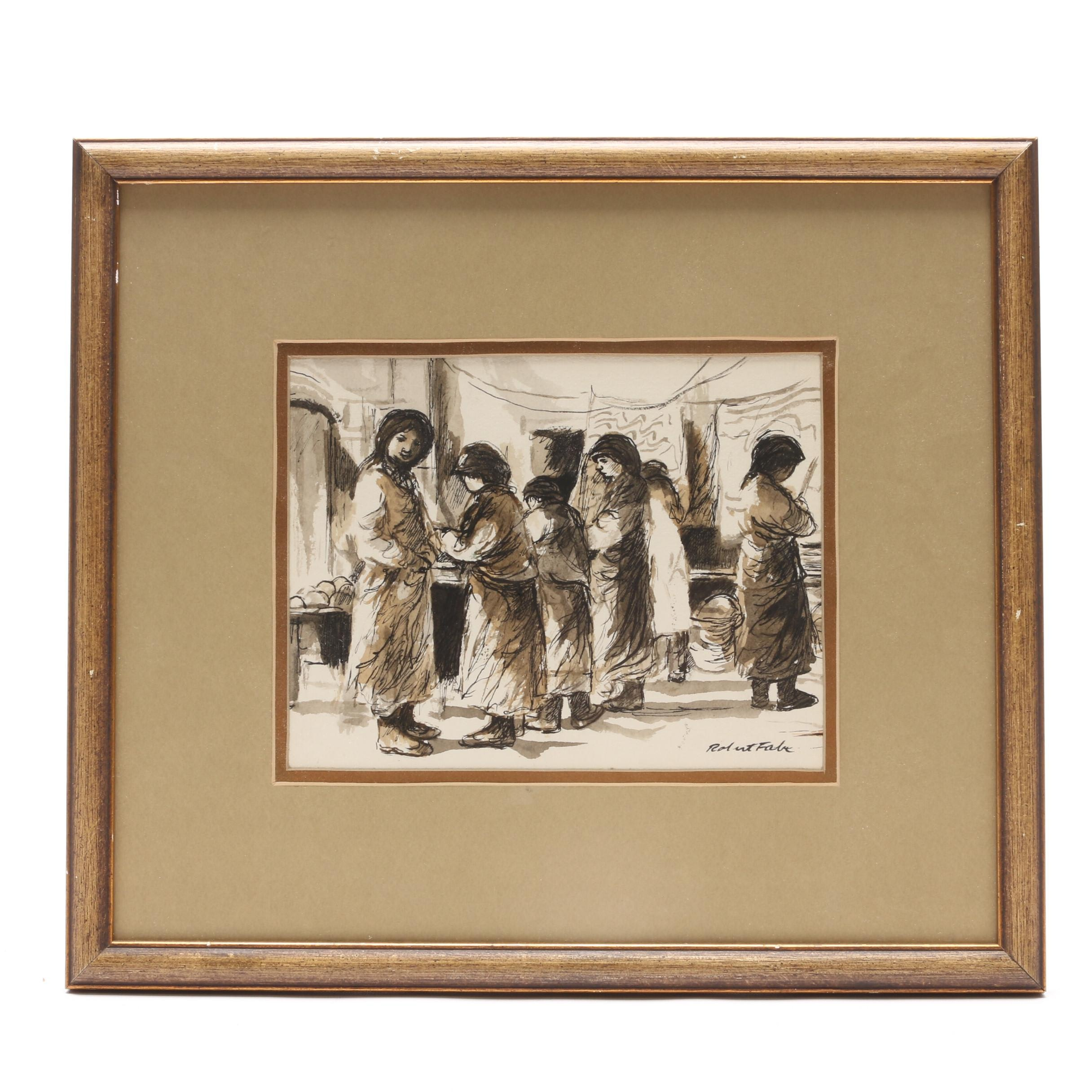 Robert Fabe Ink and Watercolor Drawing of Women at Market