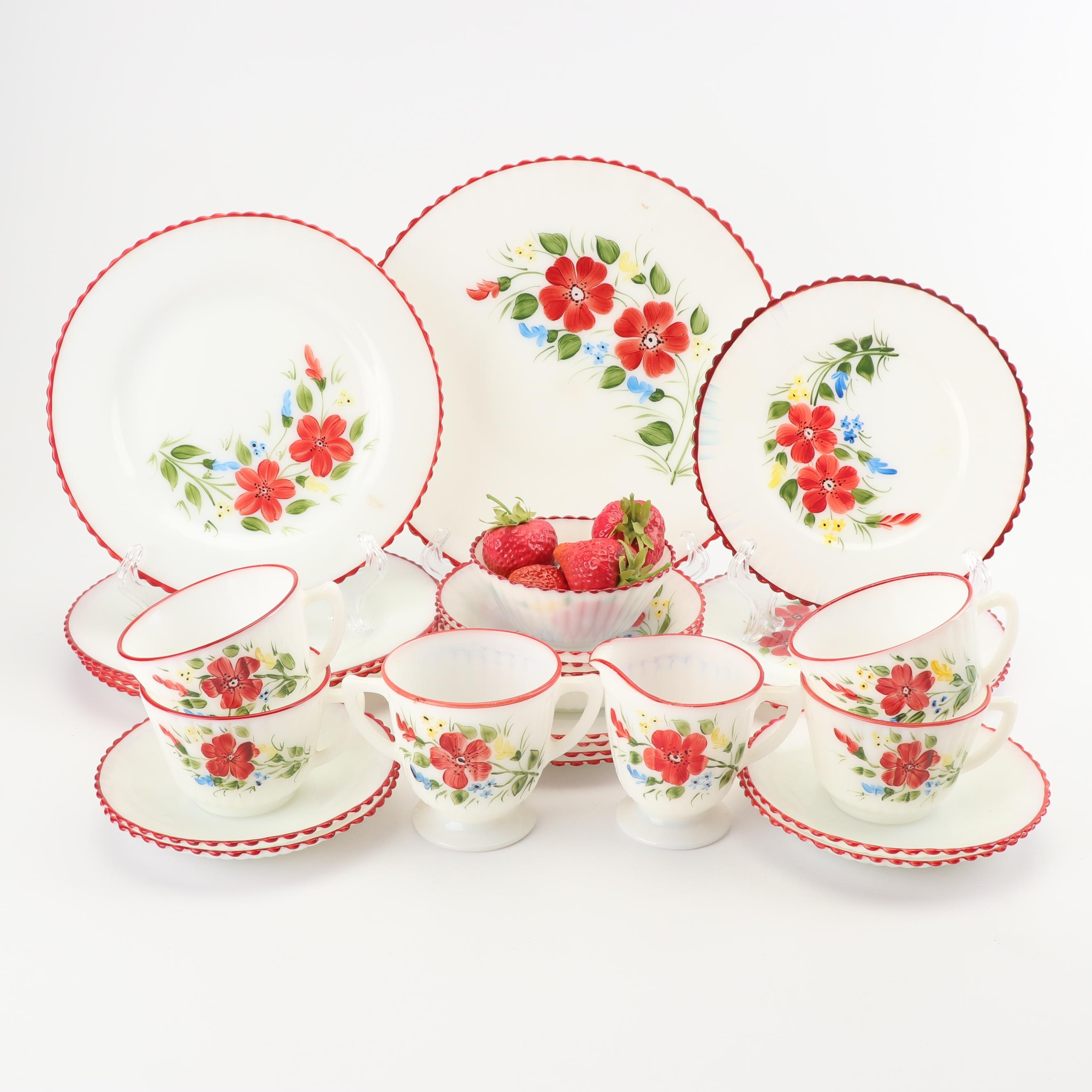 Hand-Painted Floral Motif Milk Glass Dinnerware Service for Four, 1950's