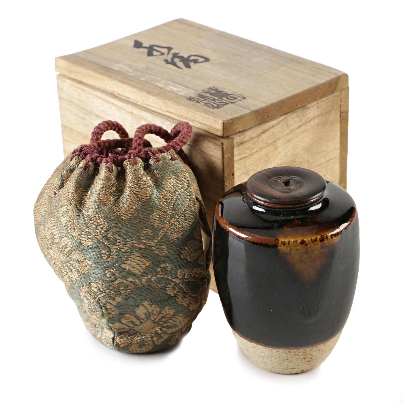 Japanese Earthenware Tea Caddy, Taisho Period Early 20th Century