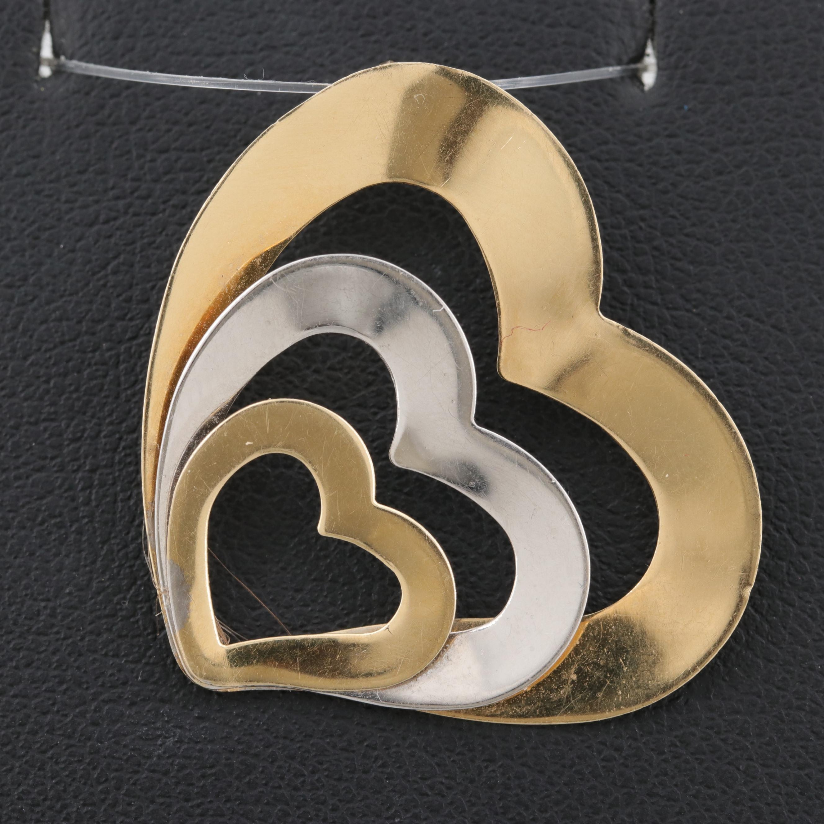 14K White and Yellow Gold Heart Pendant