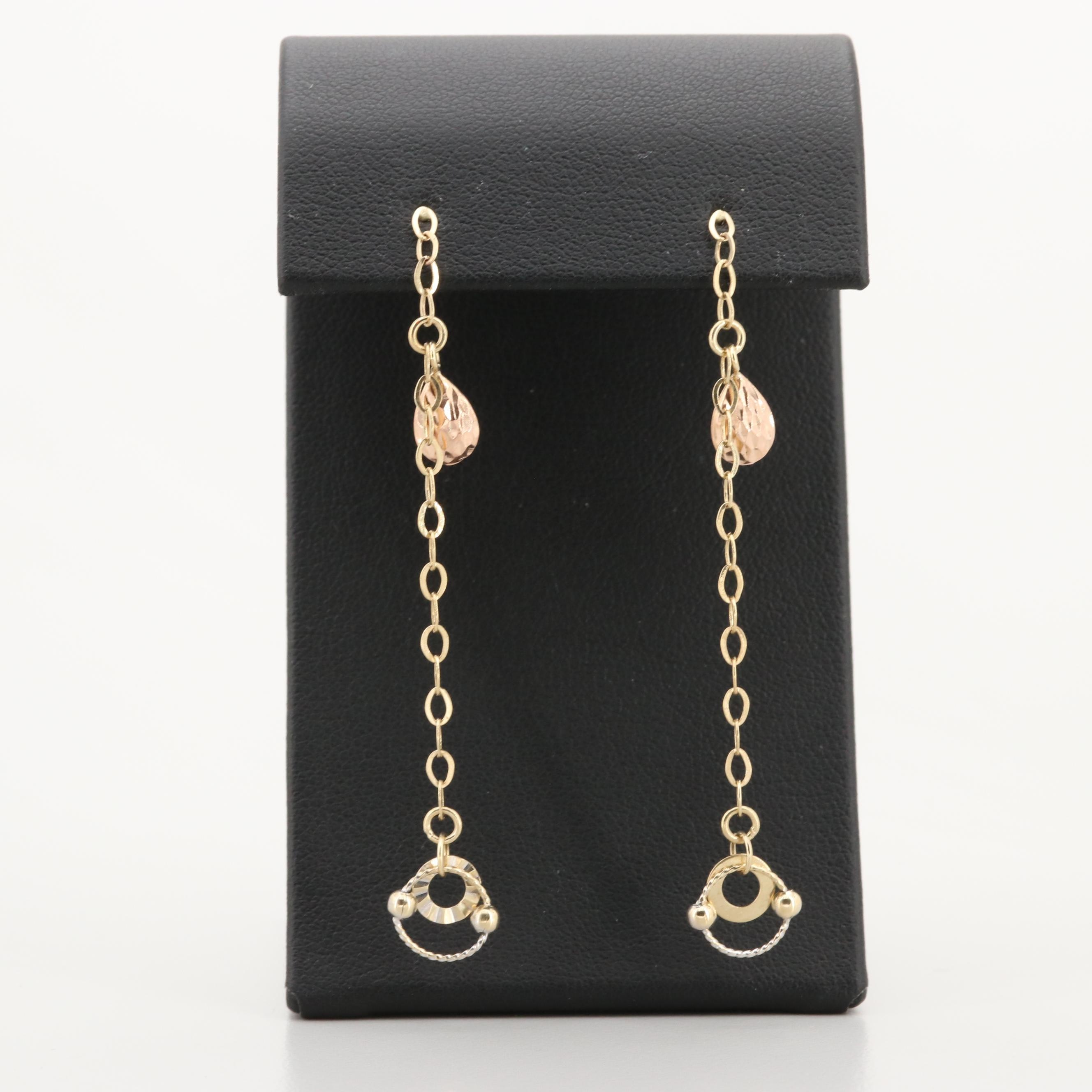 14K Yellow, White and Rose Gold Earrings