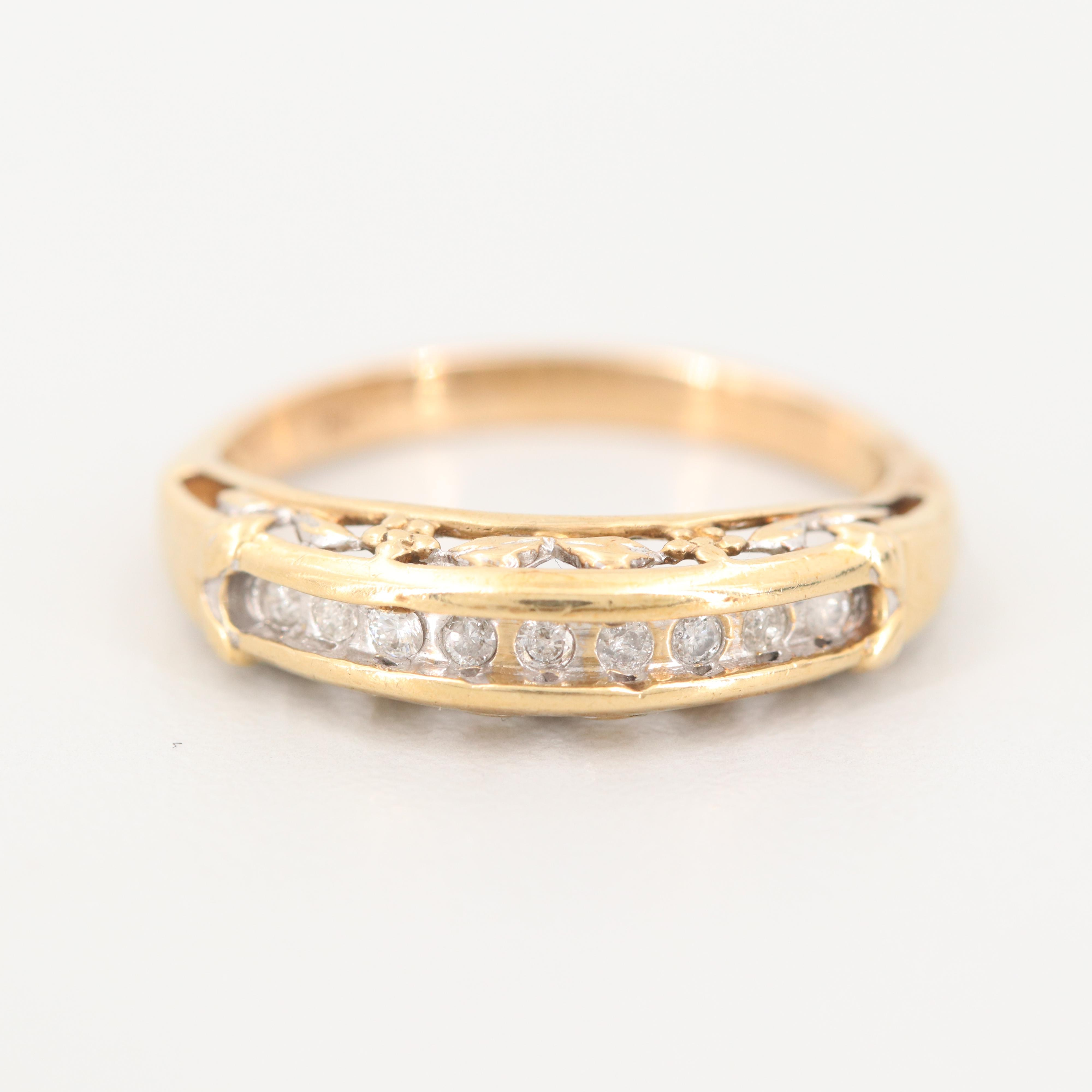 10K and 14K Yellow Gold Diamond Ring