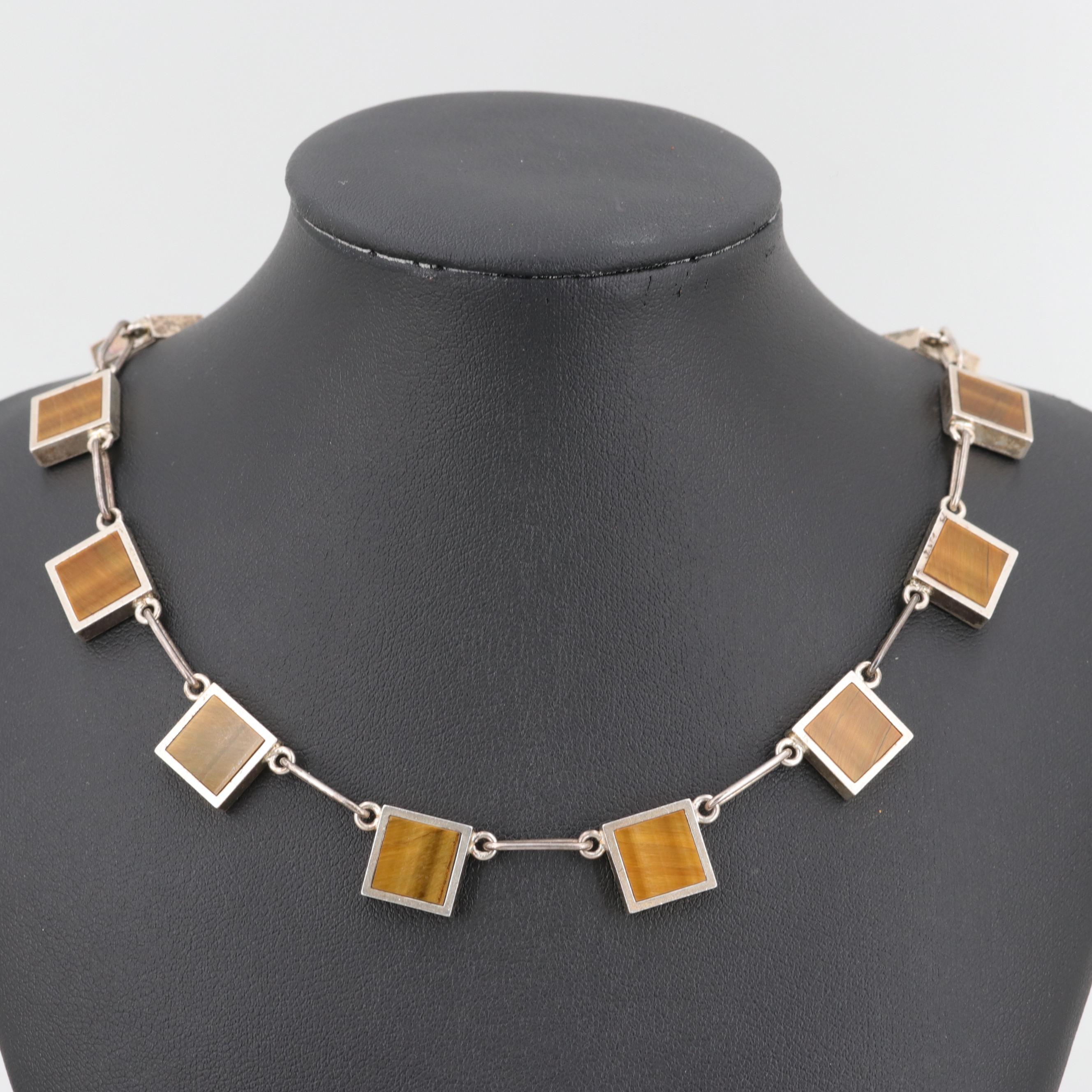 Danish Modernist Arne Johansen Vintage Sterling Silver Tiger's Eye Necklace