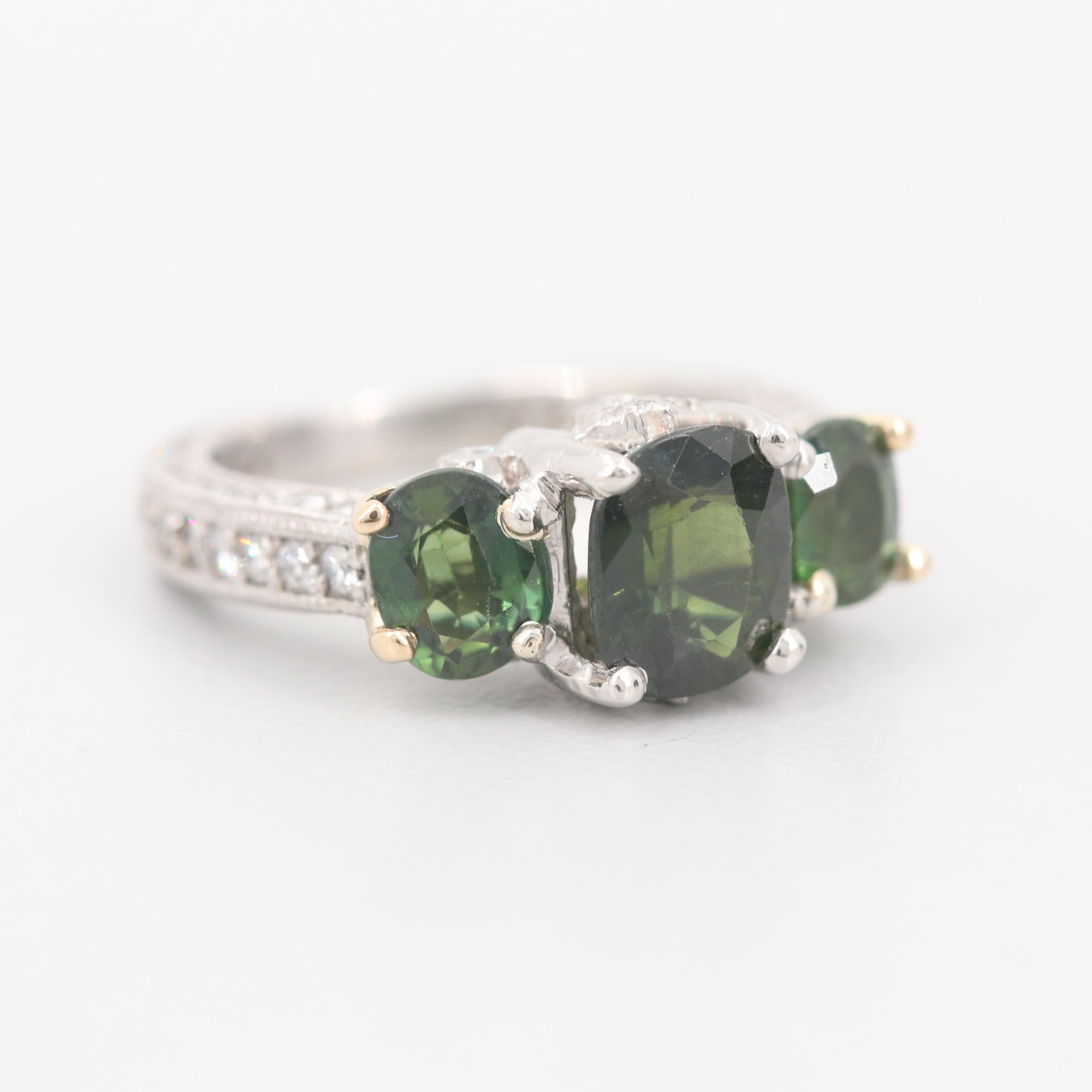 Platinum 1.57 CT Sapphire and 1.86 CTW Diamond Ring