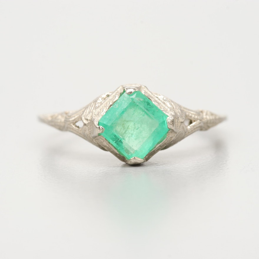 ee5f1b0faa Art Deco 14K White Gold Emerald Ring   EBTH