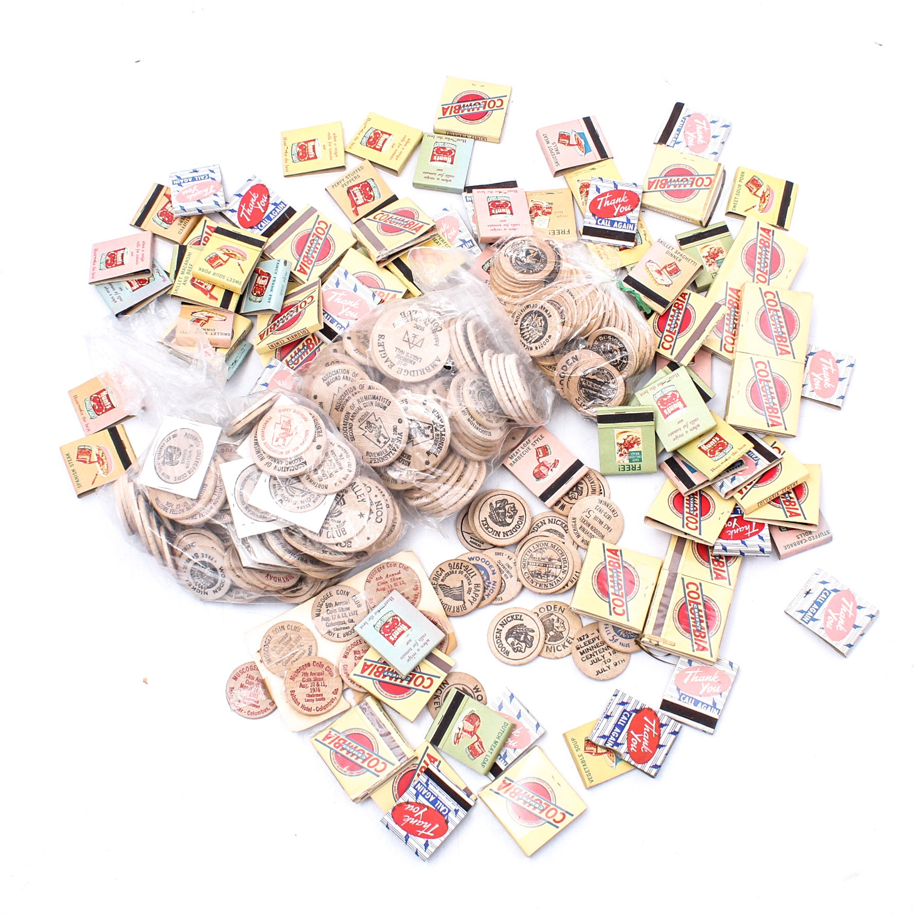 Wooden Nickels and Match Book Collection