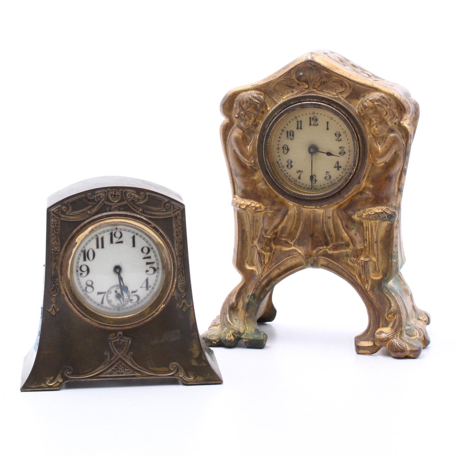 Art Nouveau Cast Metal Desk Clocks