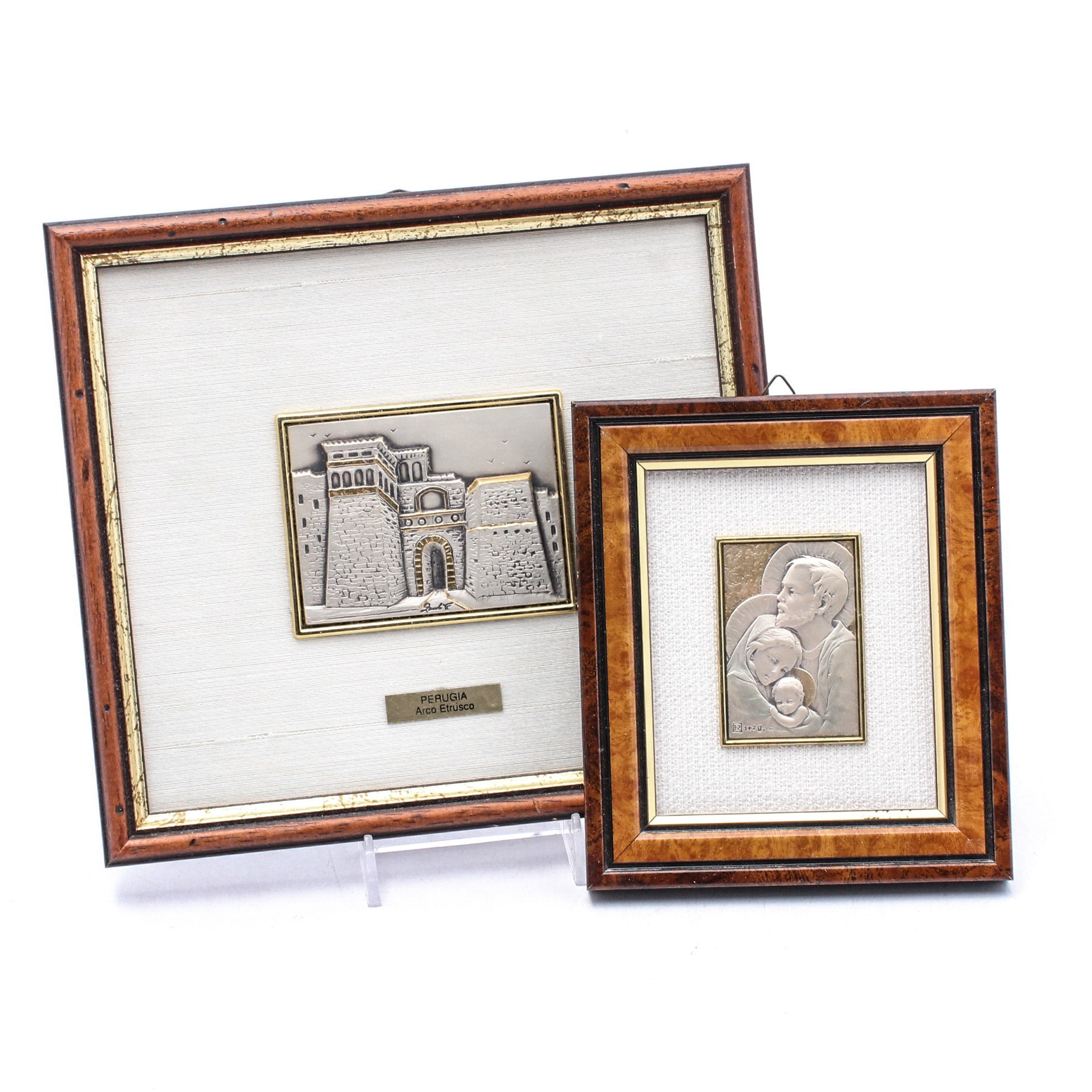 """Sterling Silver and Gold Leaf """"Perugia, Arco Etrusco"""" and Holy Family"""