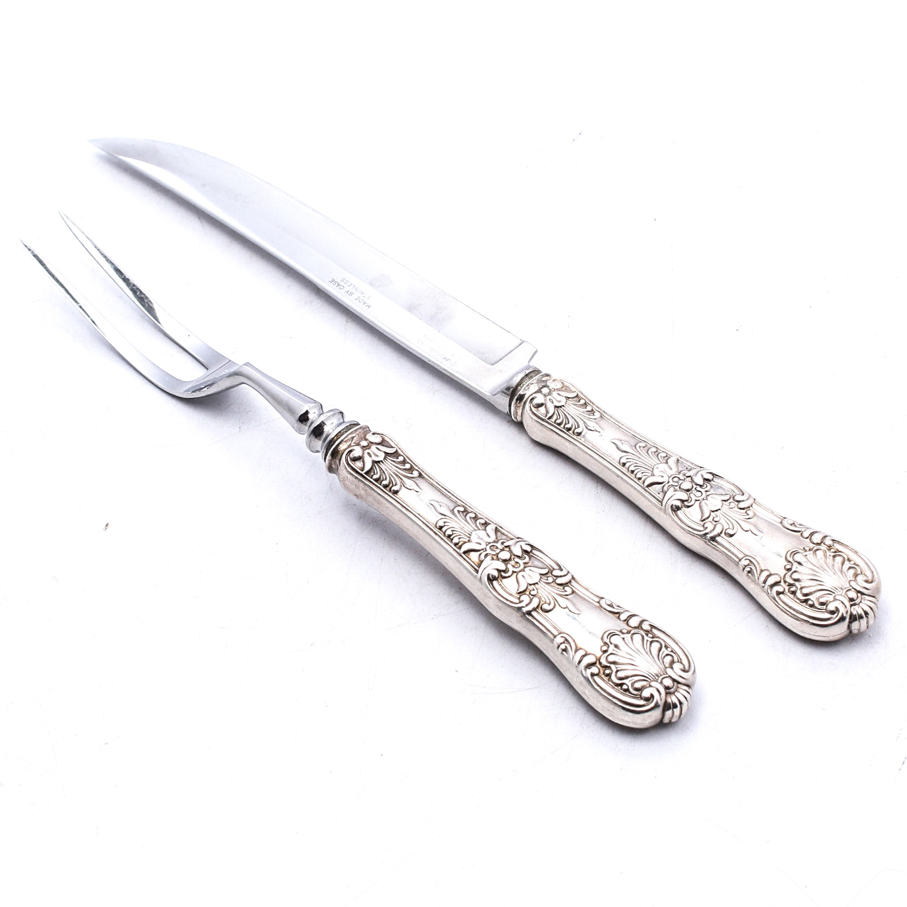 """Tiffany & Co. """"English King"""" Sterling Silver Carving Set"""