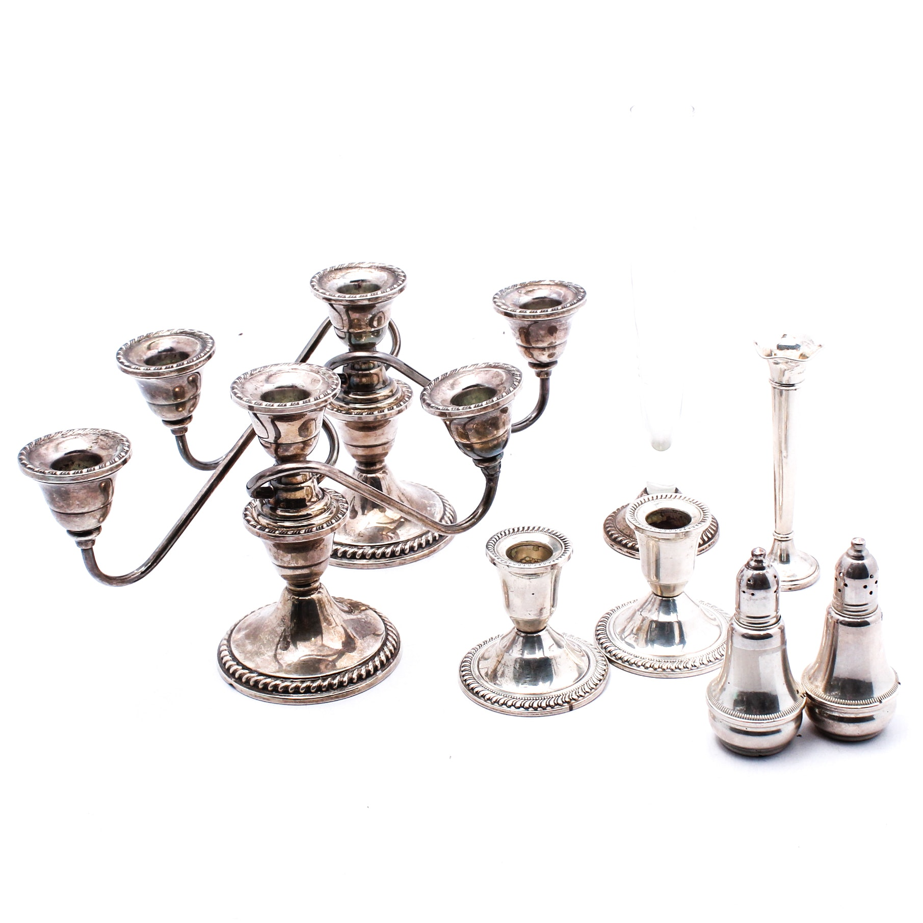 Sterling Silver Candelabras, Candle Holders, Shakers and Vases Featuring Duchin