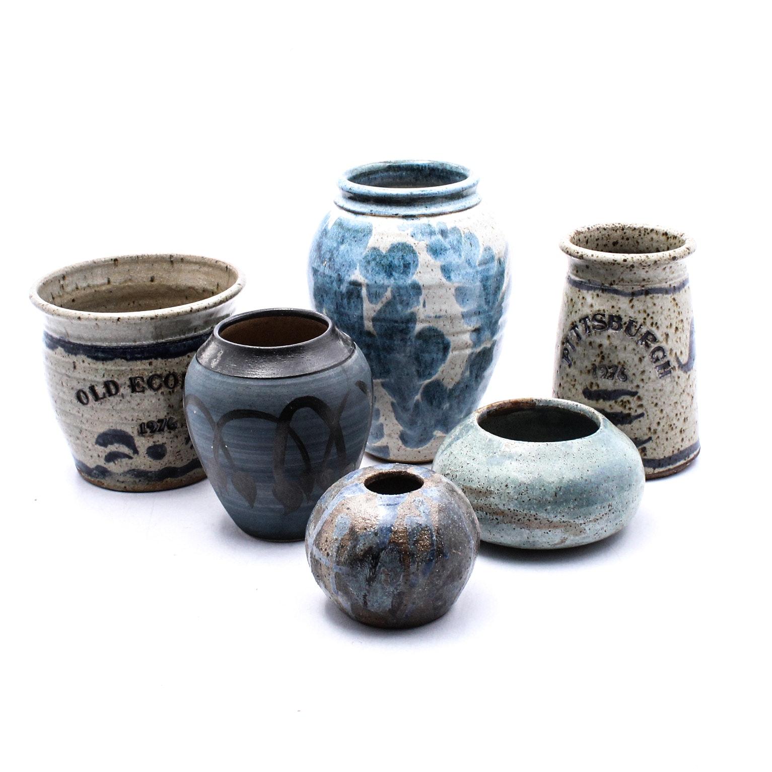 Vintage Stoneware Ceramics in Blues