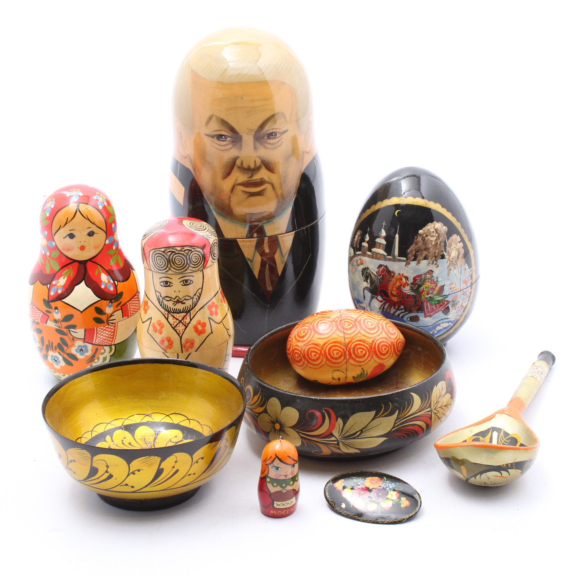 Hand-Painted Russian Matryoshka Dolls, Serveware, Eggs and Brooch
