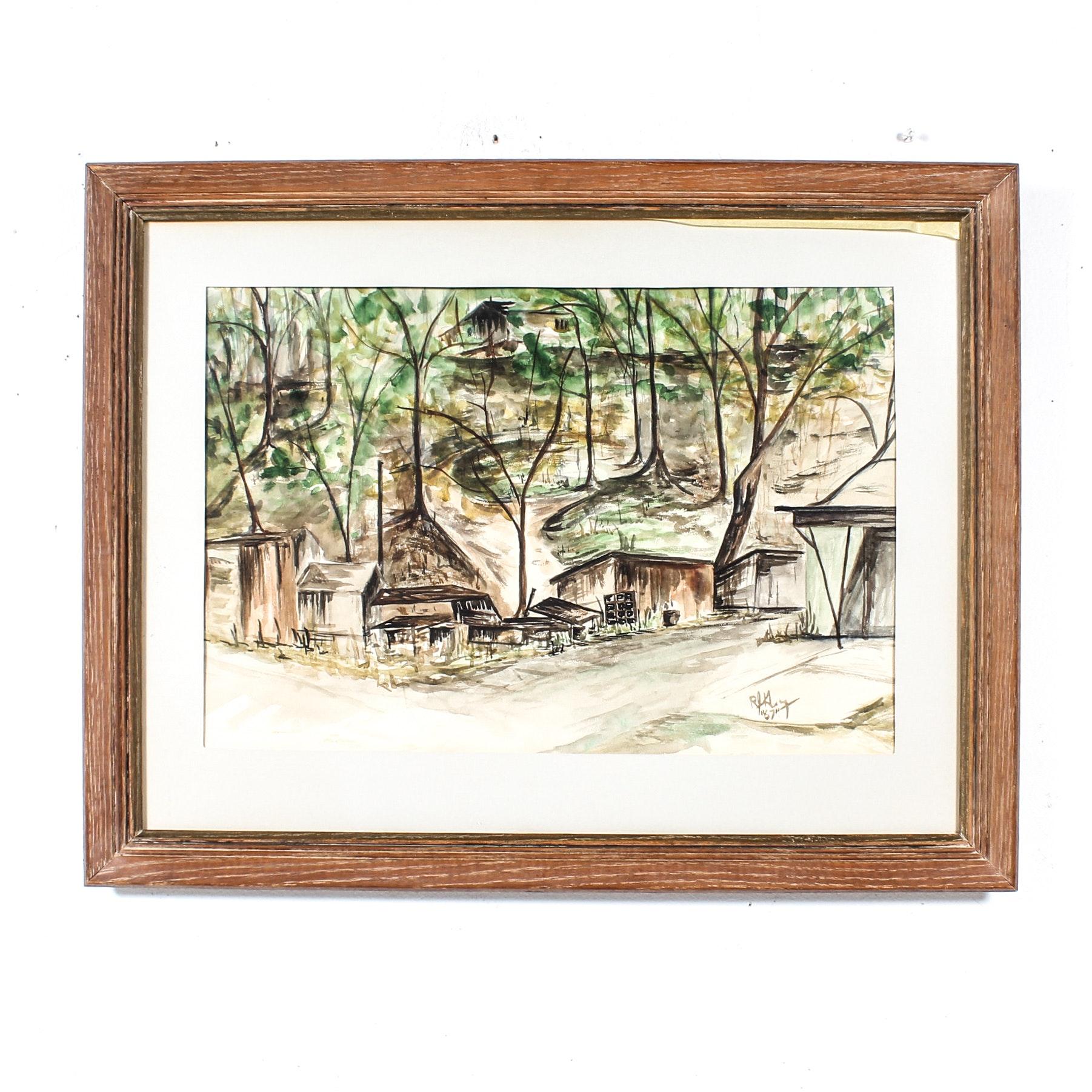 Watercolor Painting of Rustic Hillside
