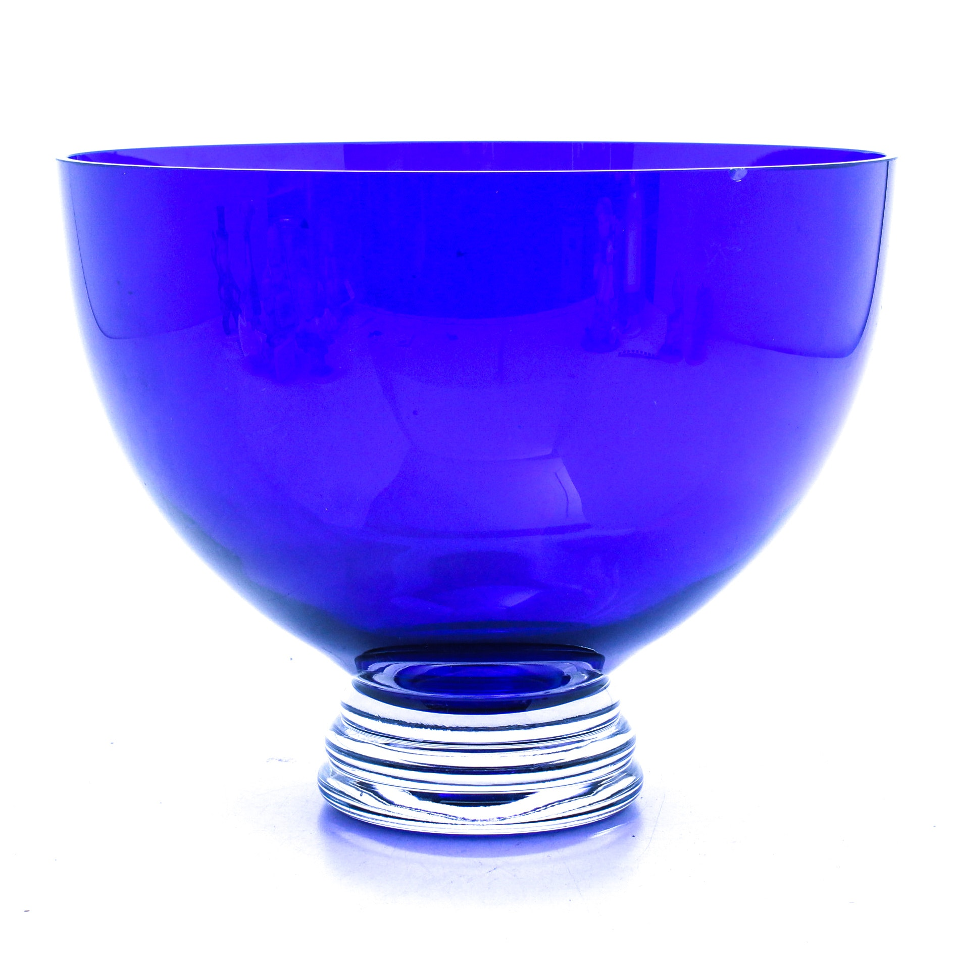 Cobalt Blue and Clear Art Glass Centerpiece Bowl