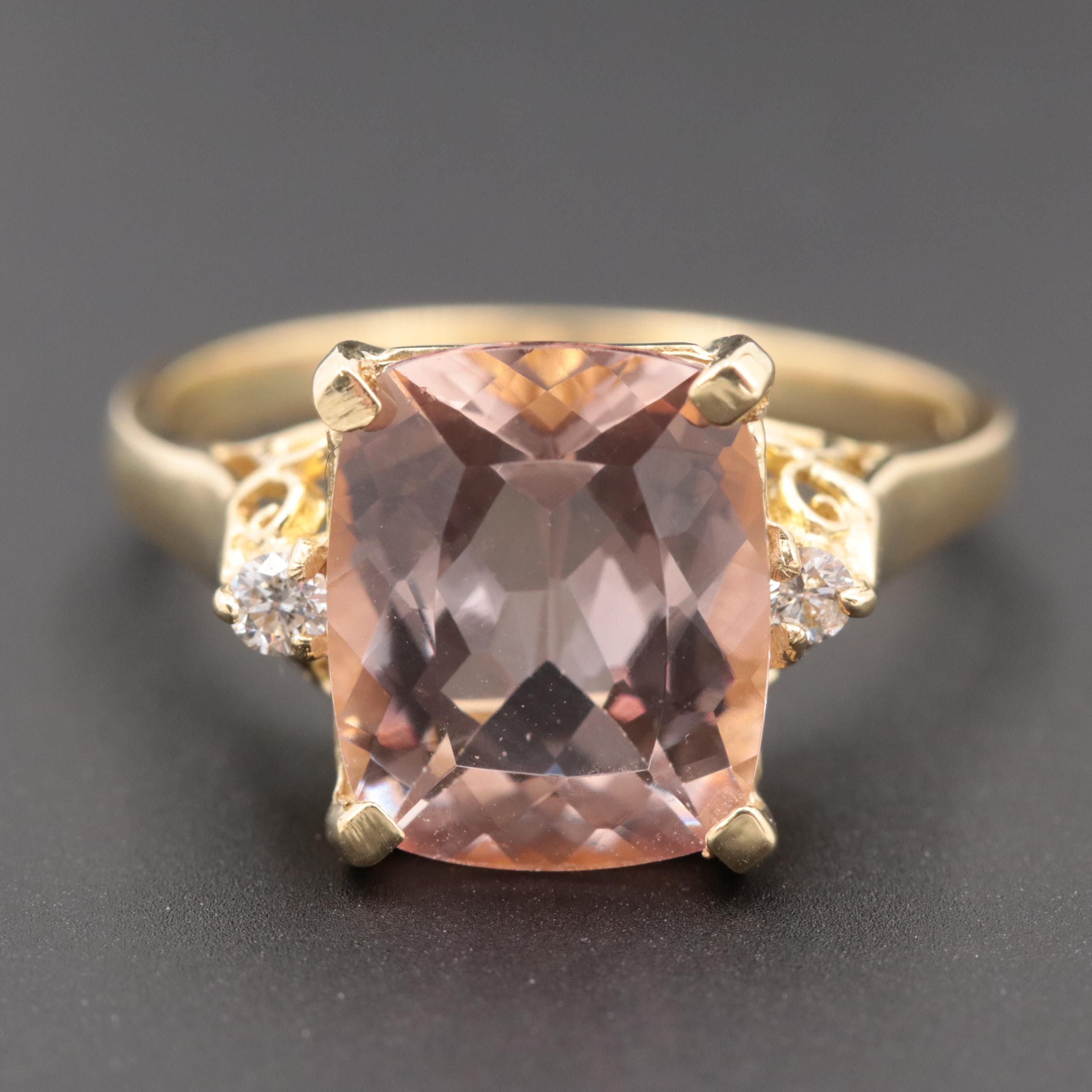 18K Yellow Gold Morganite and Diamond Ring