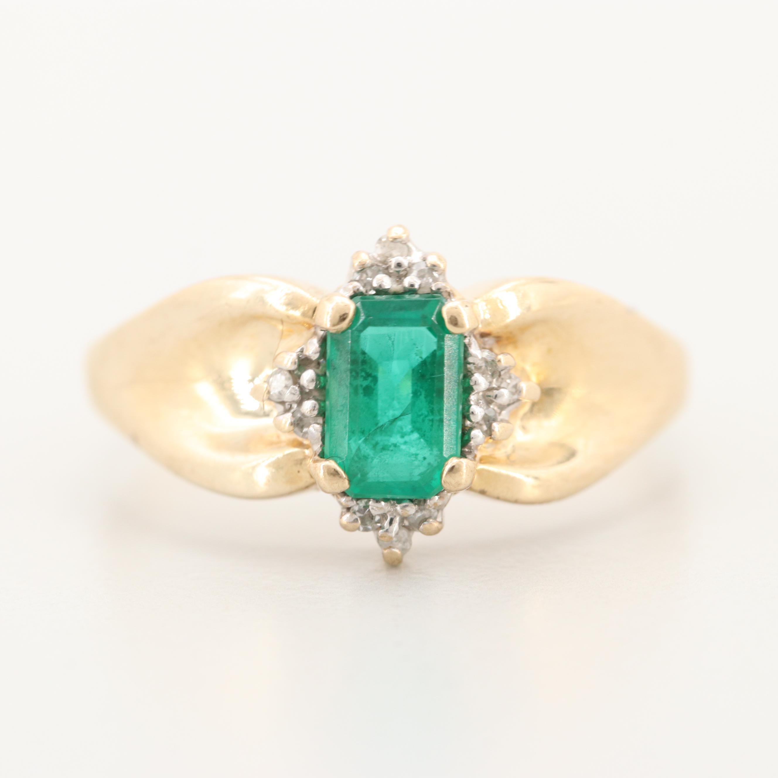 10K Yellow Gold Synthetic Emerald and Diamond Ring
