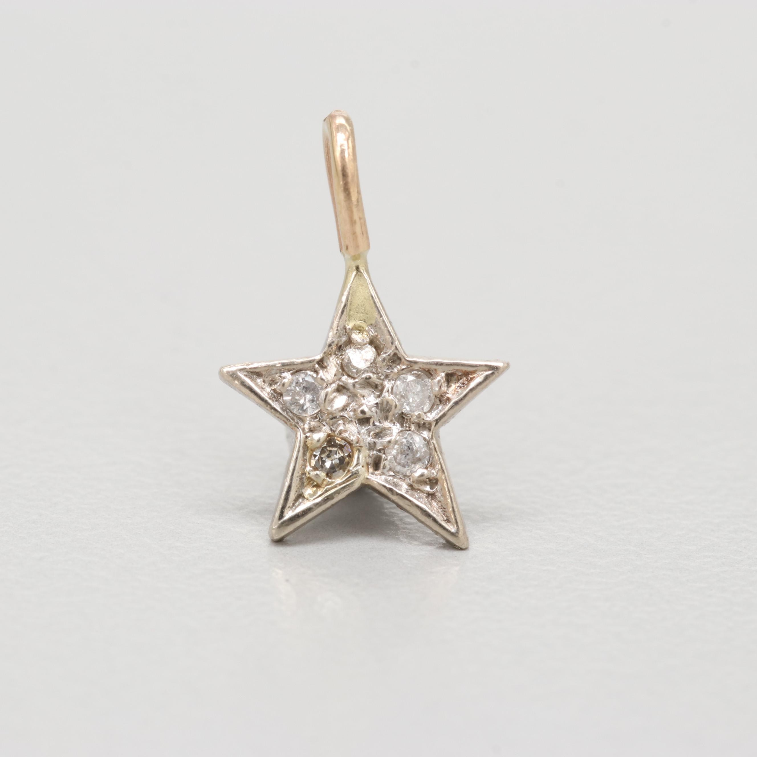 10K White and Yellow Gold Diamond Star Pendant
