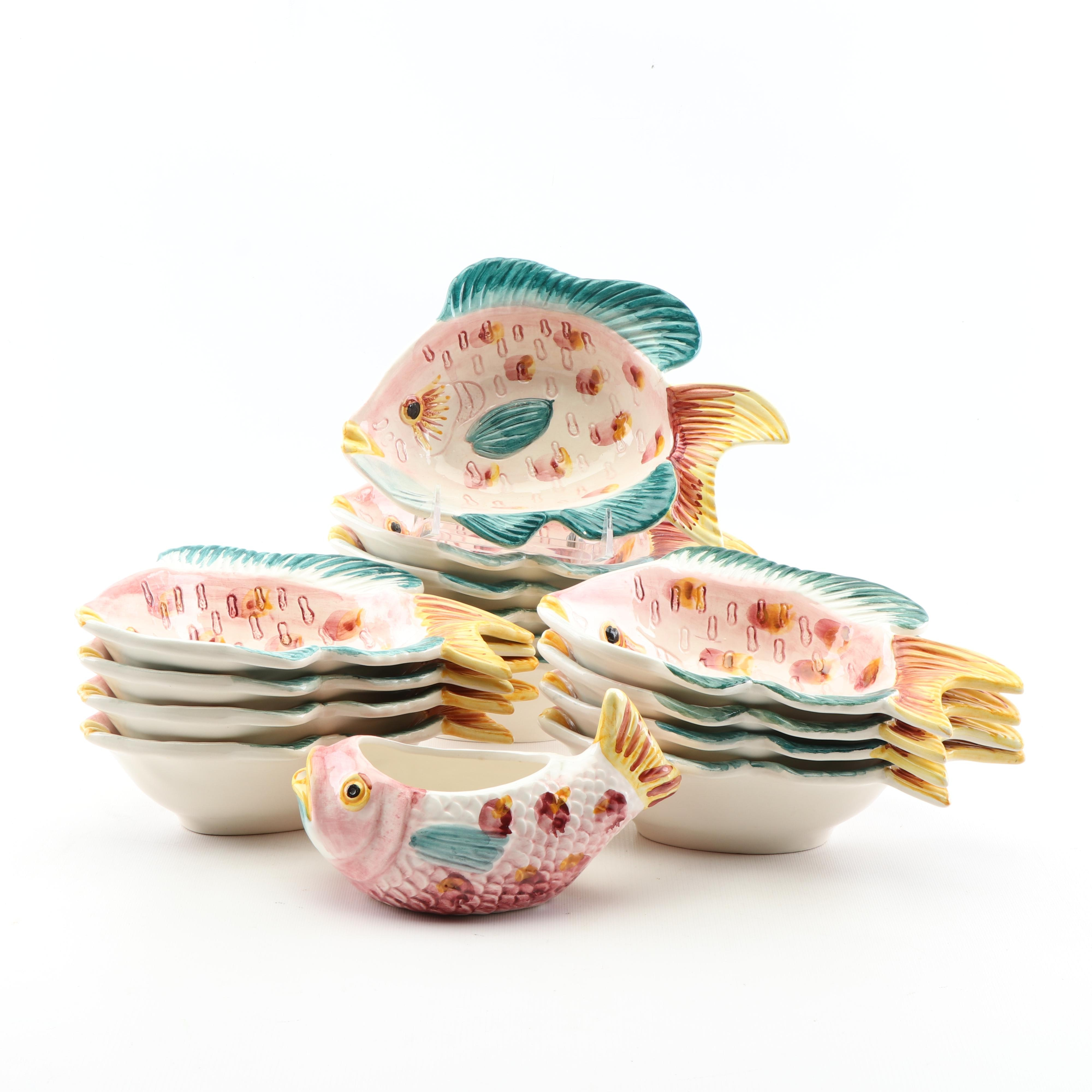 Hand-Painted Portuguese Ceramic Fish Bowls and Pitcher