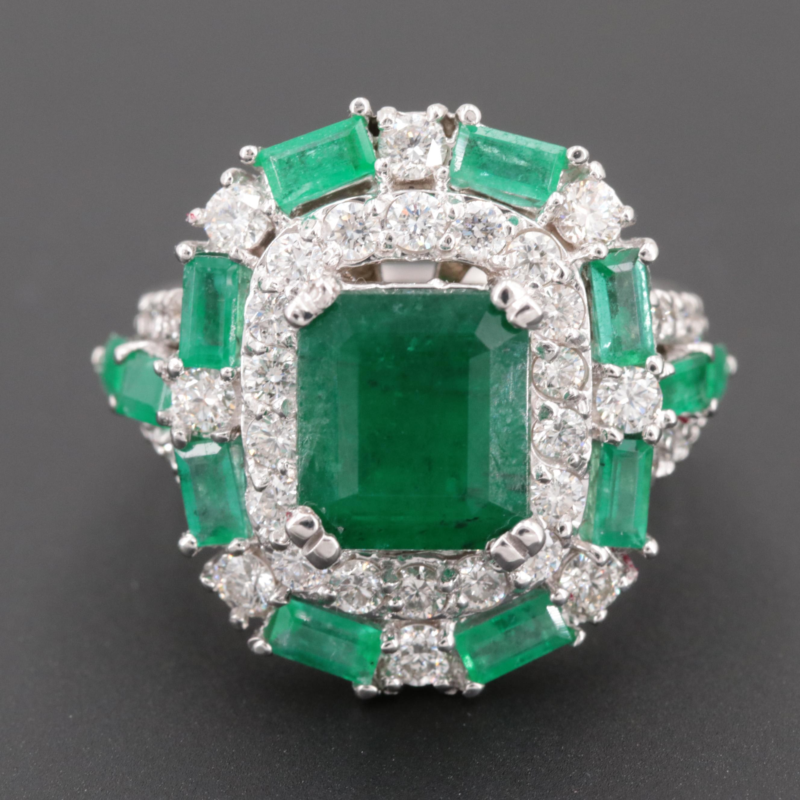 18K White Gold 1.41 CTW Diamond and Emerald Ring with 2.64 CT Center Stone