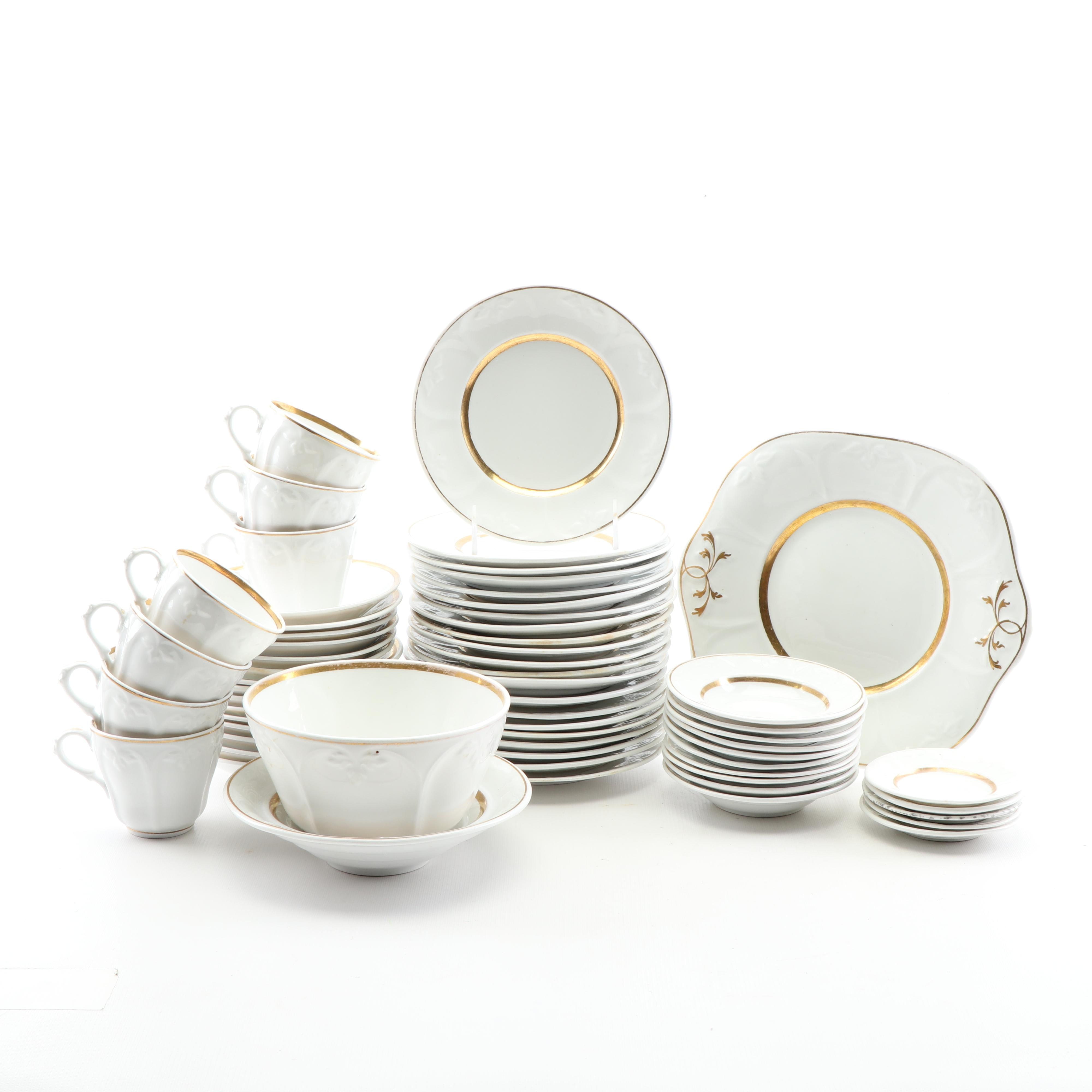Gilded White Ceramic Dinnerware Set